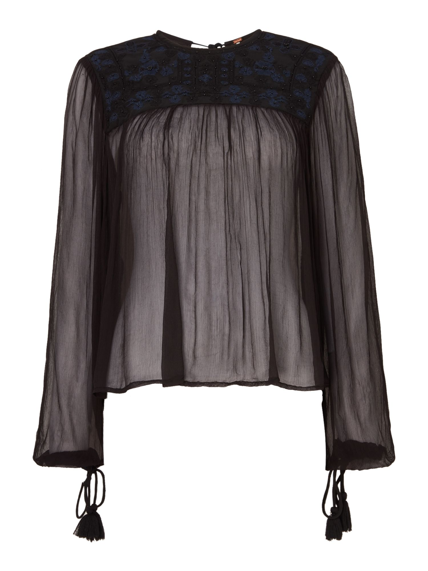 Free People Long Sleeve Sheer Retro Femme Top, Black
