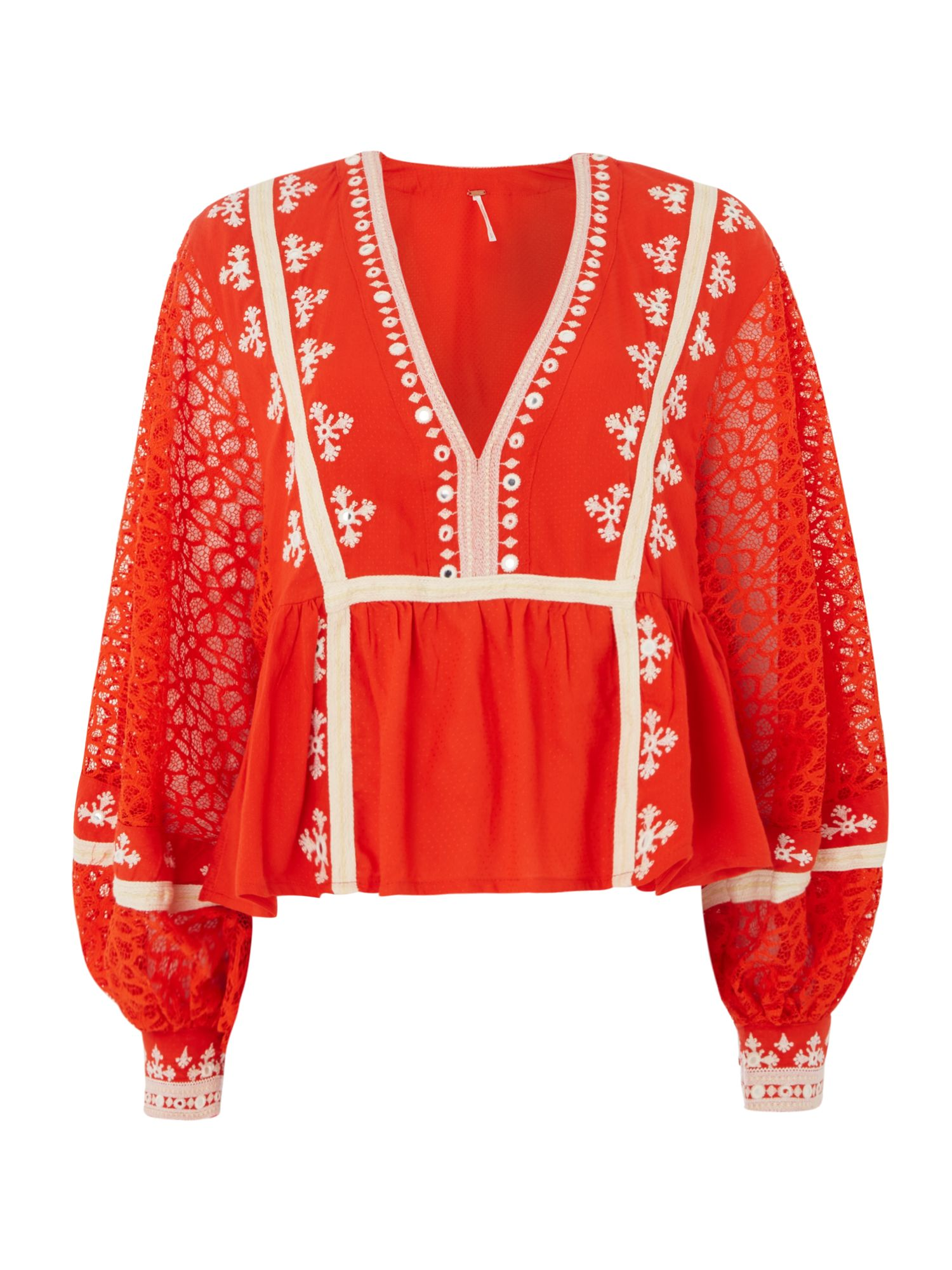 Free People Long Sleeve V-Neck Lacey Boogie All Night Top, Red