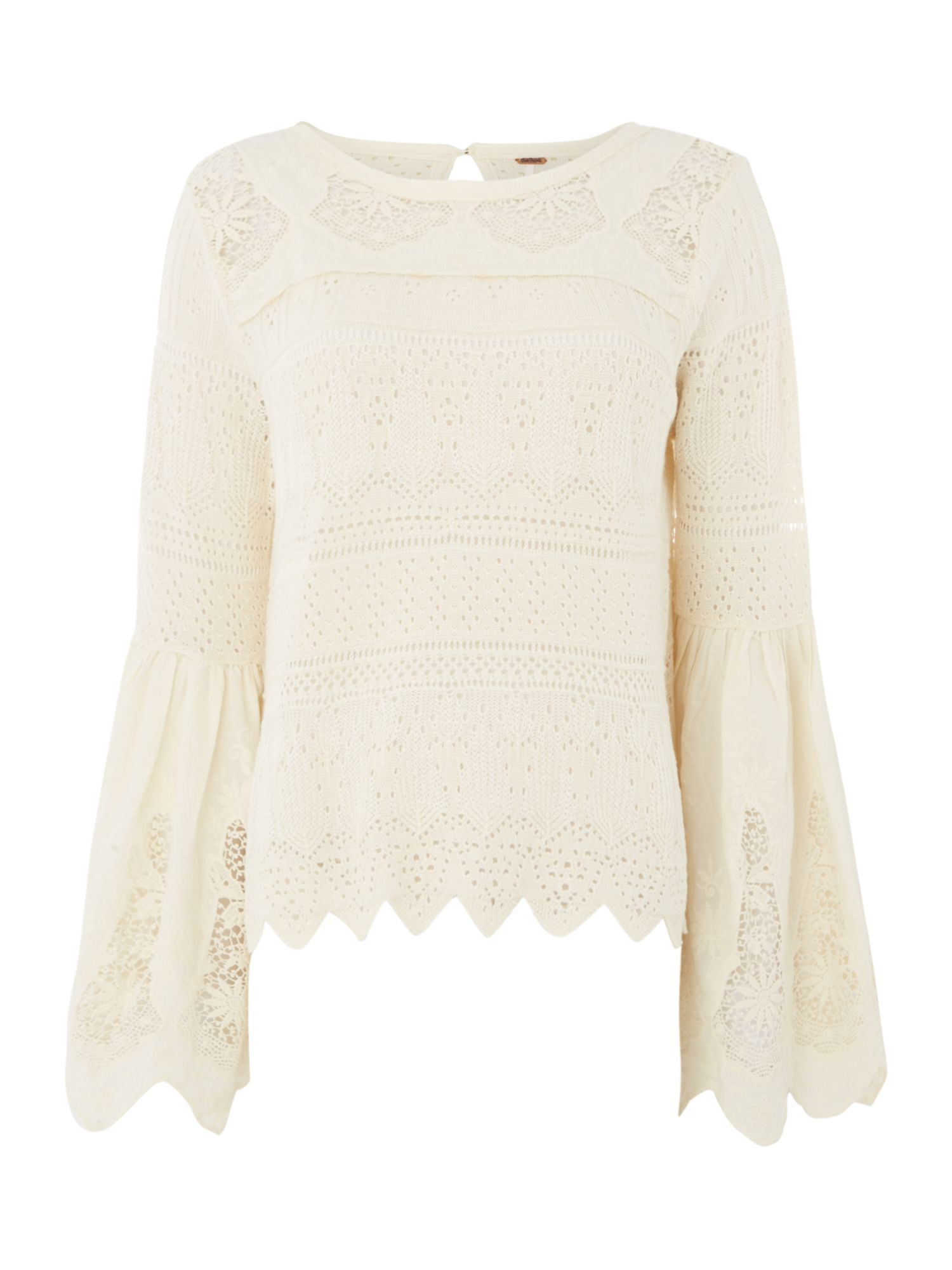 Free People Long Sleeve Lacey Once Upon A Time Top, White