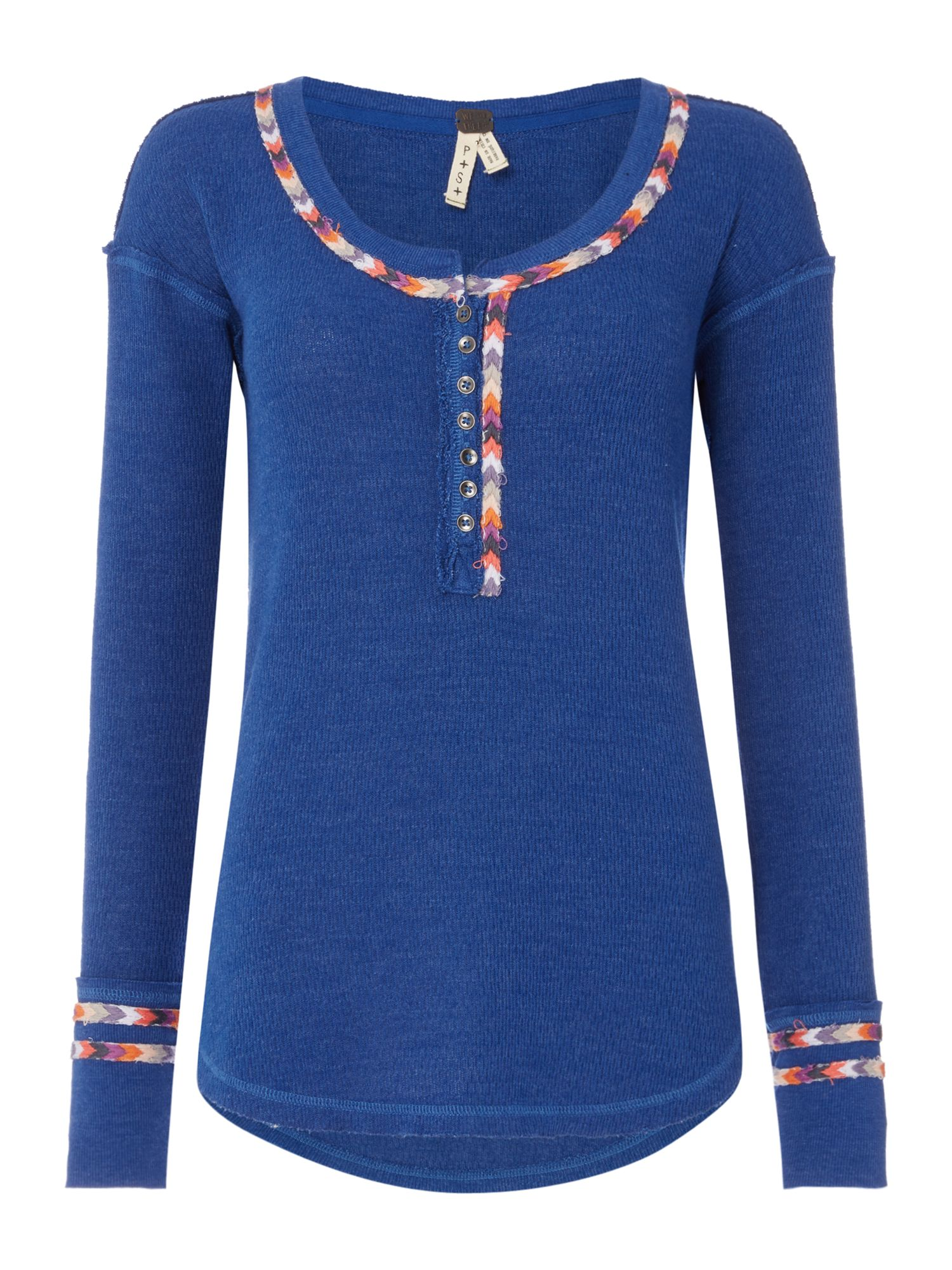 Free People Long Sleeve Rainbow Piping Top, Blue