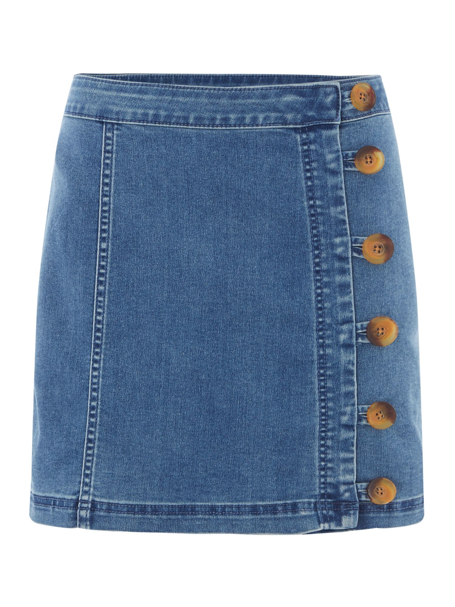 Free People Denim Little Daisies Button Up Mini Skirt, Denim Mid Wash