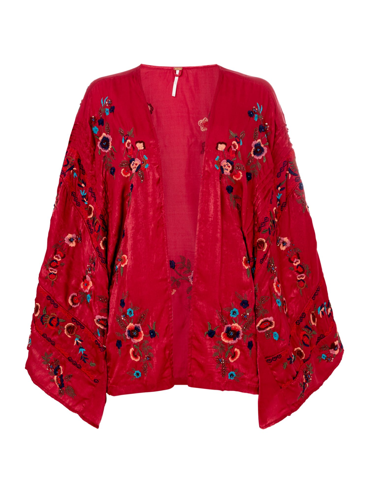 Free People Embroidered Ariel Kimono, Raspberry