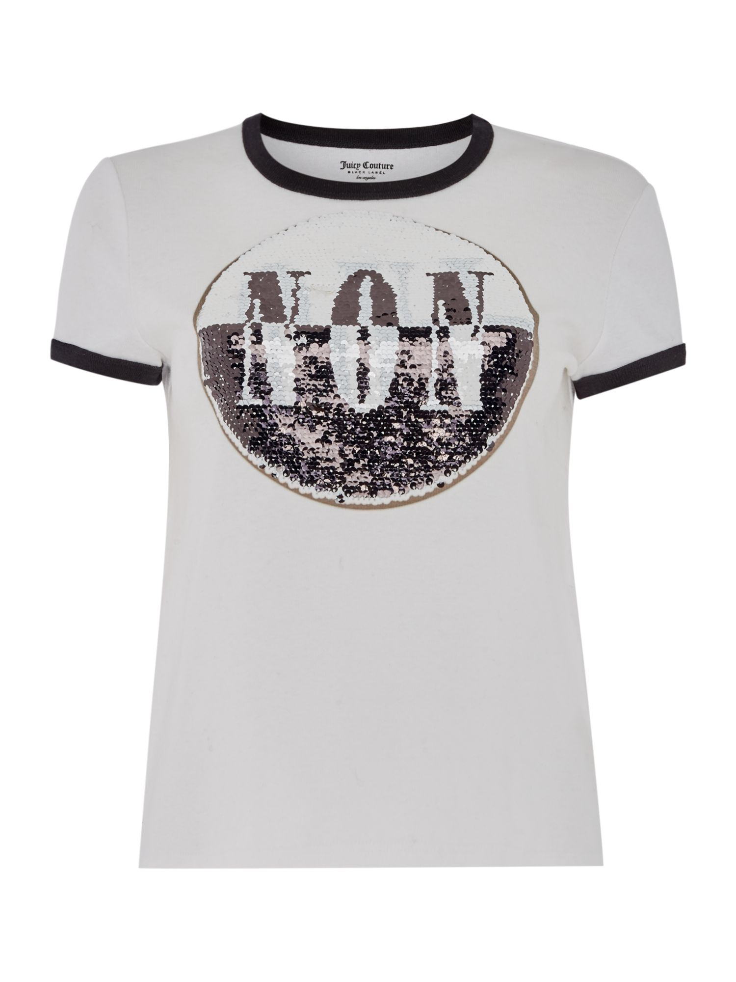 Juicy Black Label Short Sleeve Two Way Sequin T-Shirt, White