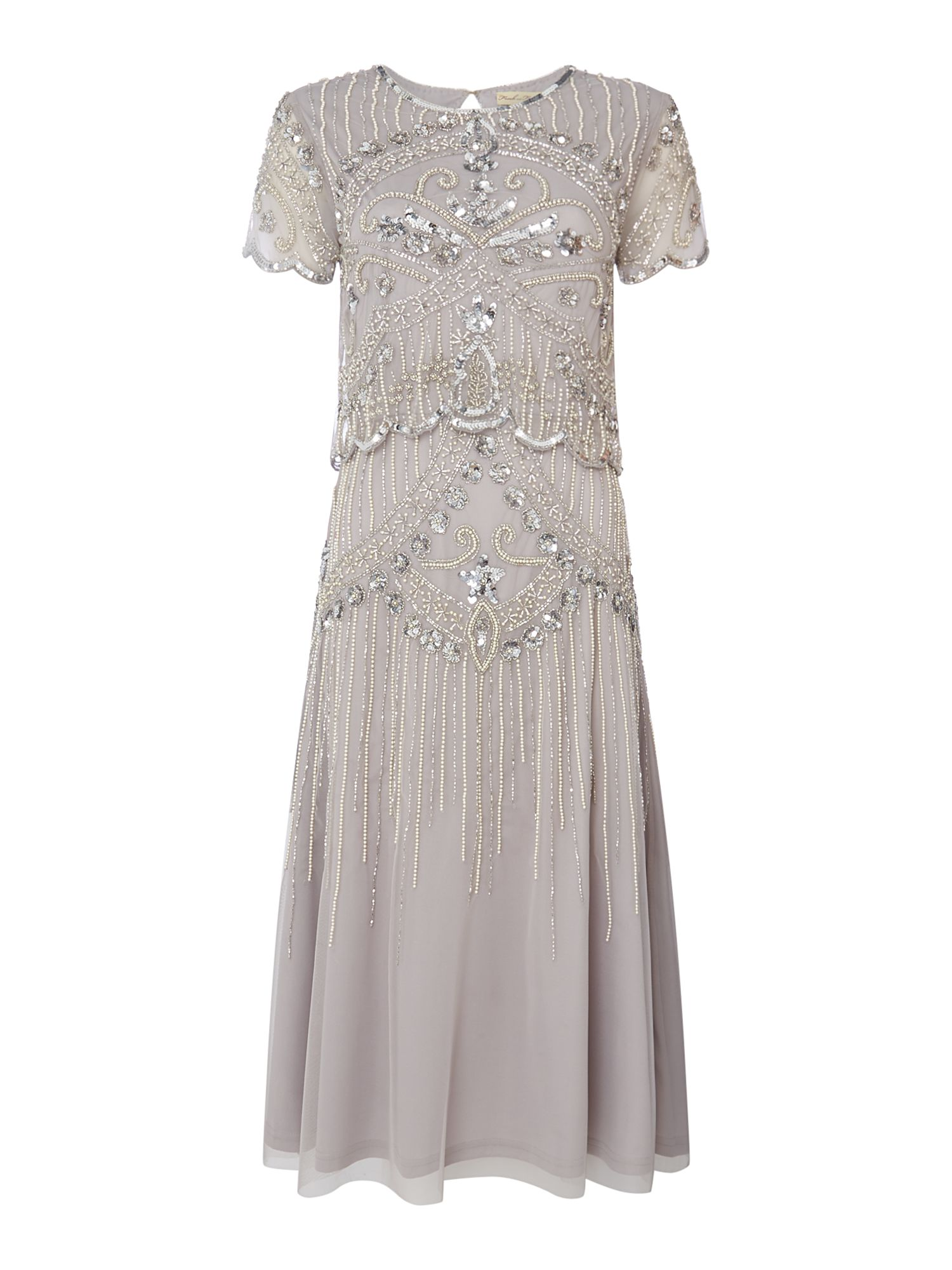 Frock and Frill Short sleeve embellished dress, Grey