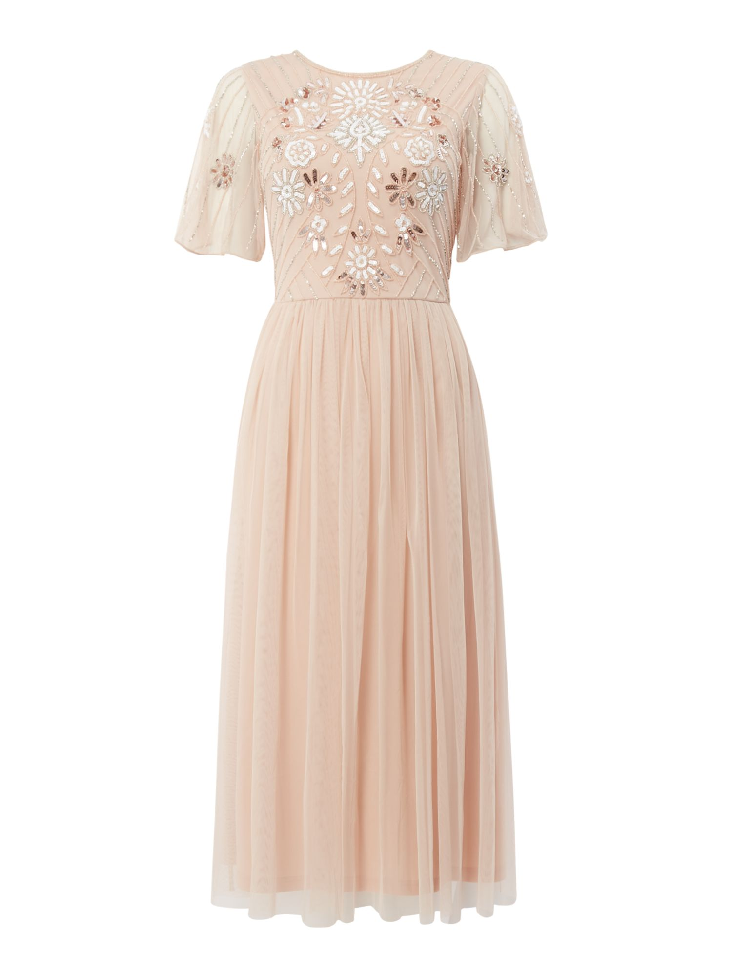 Frock and Frill Embellished round neck midi dress, Pink