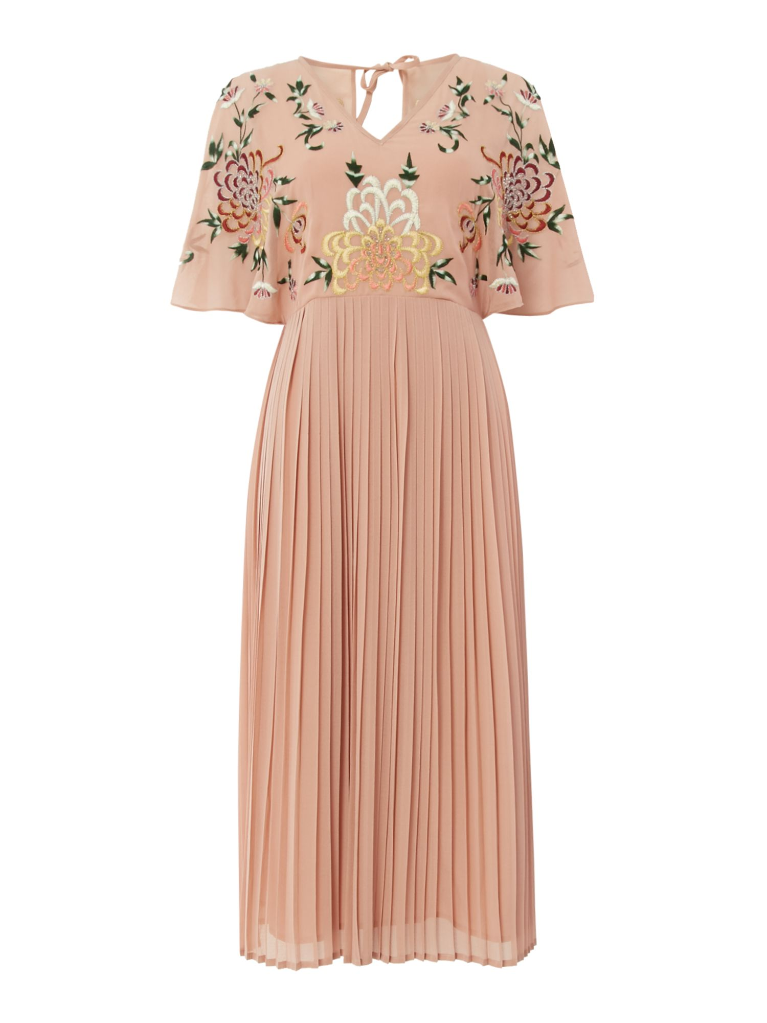 Frock and Frill Short sleeve embroidered dress, Pink