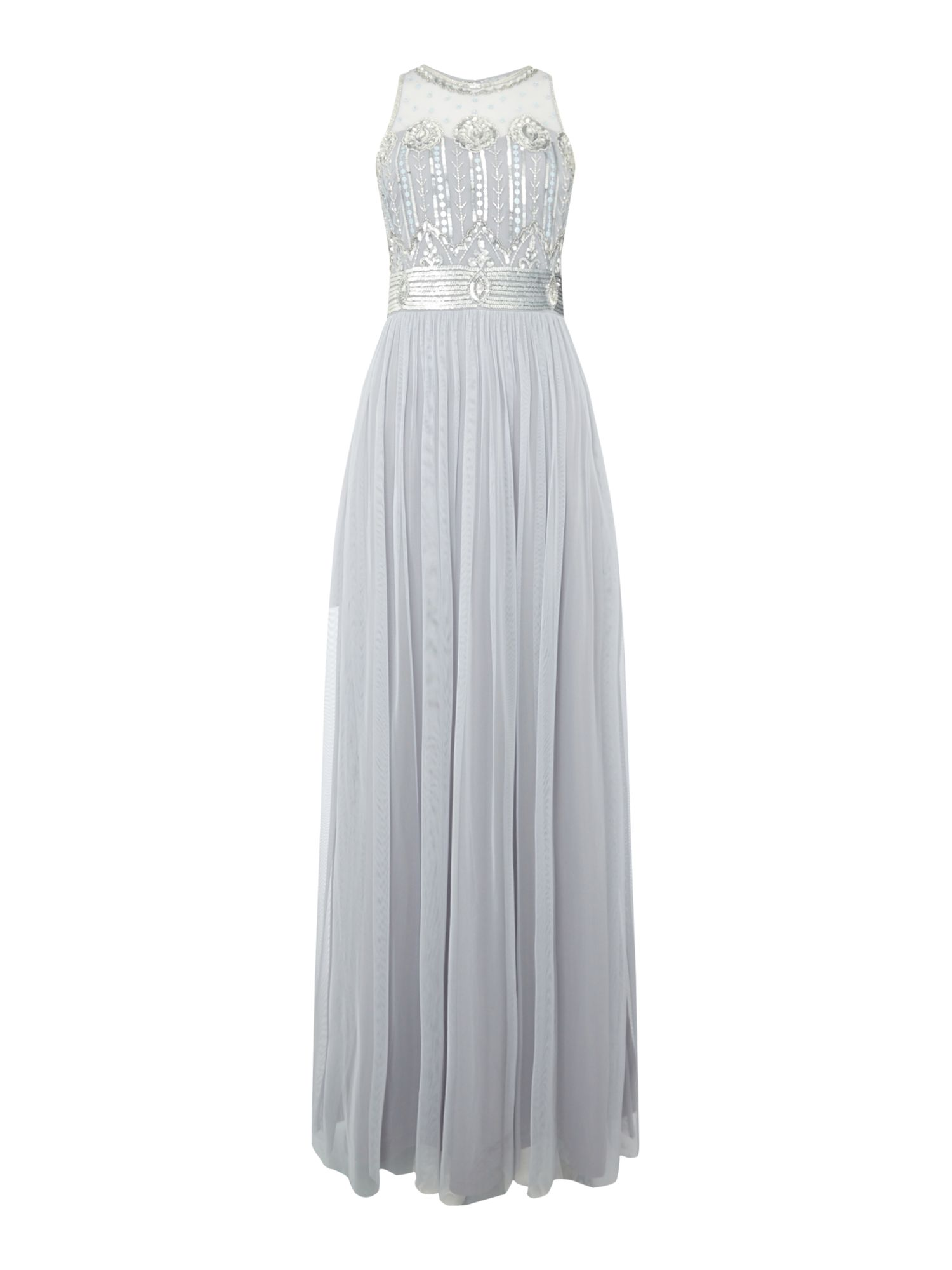 Frock and Frill High neck detailed maxi dress, Ice Blue