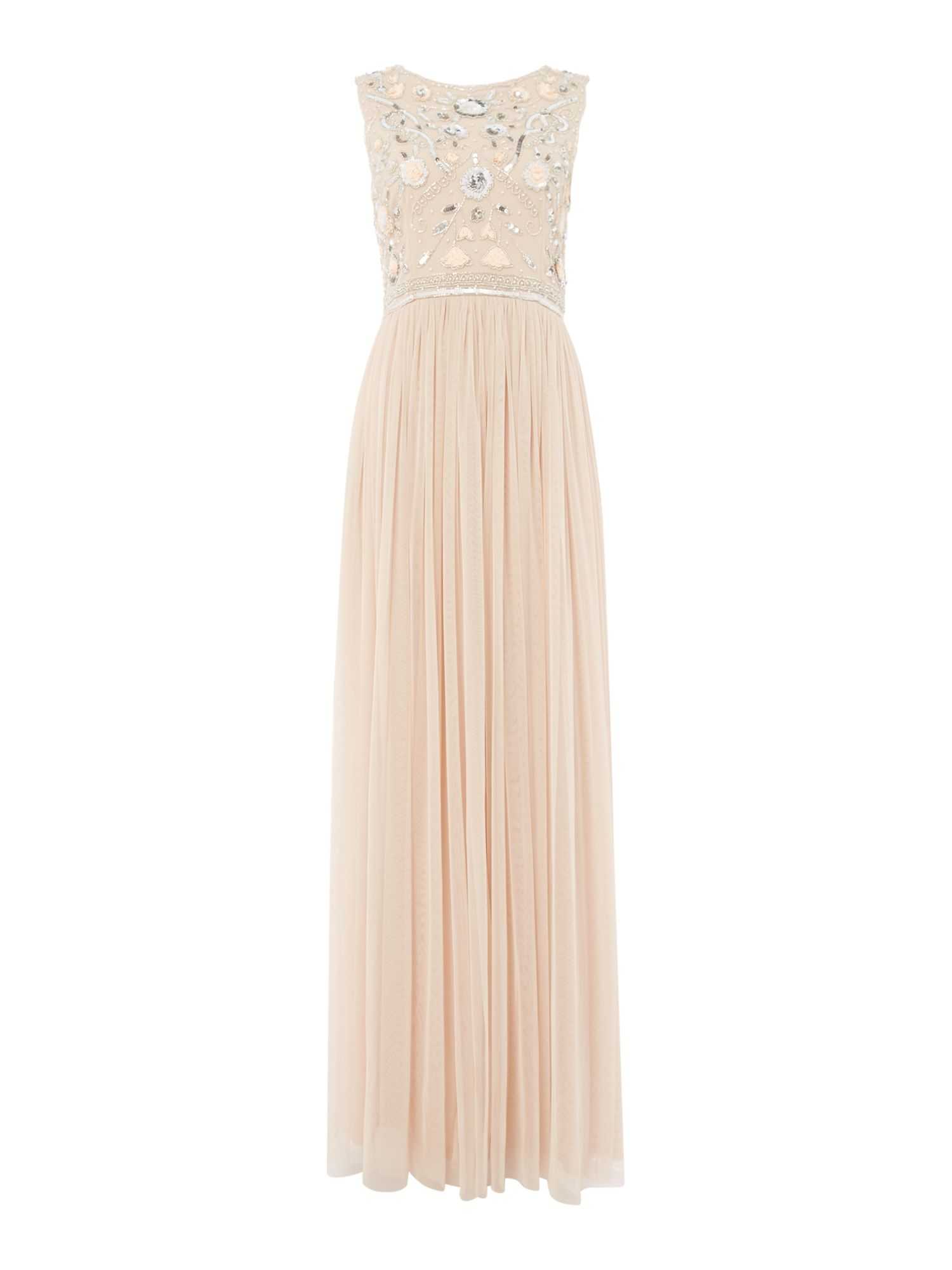 Frock and Frill High neck pleated dress, Pink