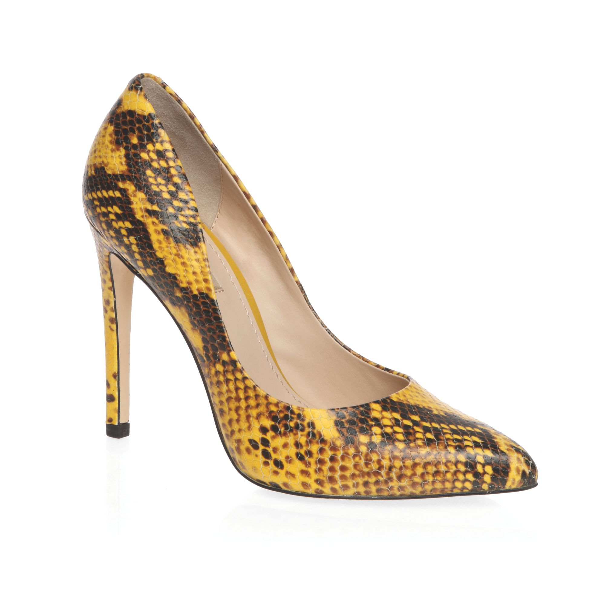 High heeled snake print court shoes
