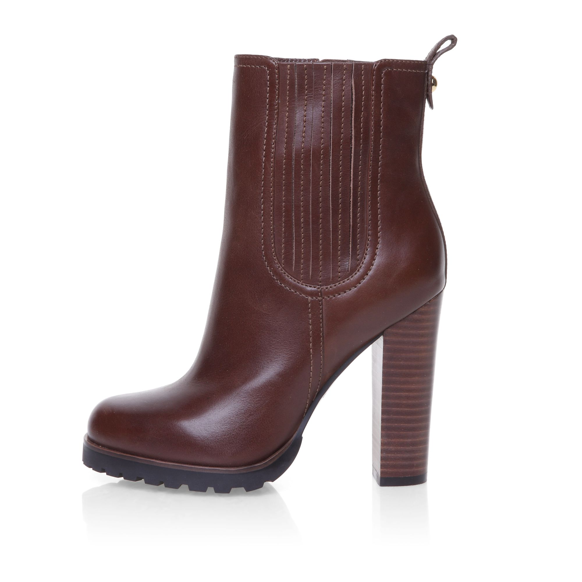 Ankle boot with stacked heel