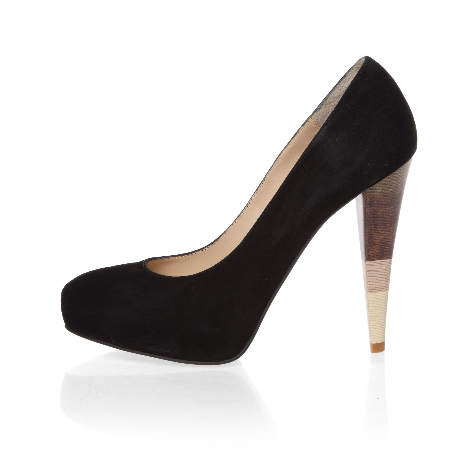 Detailed heeled suede court shoes