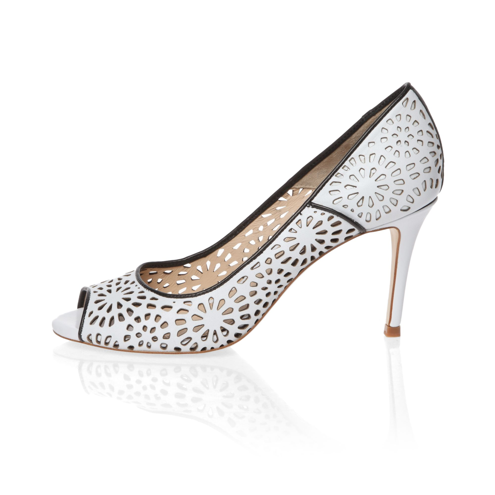 Elegant laser cut design peep toe court shoes