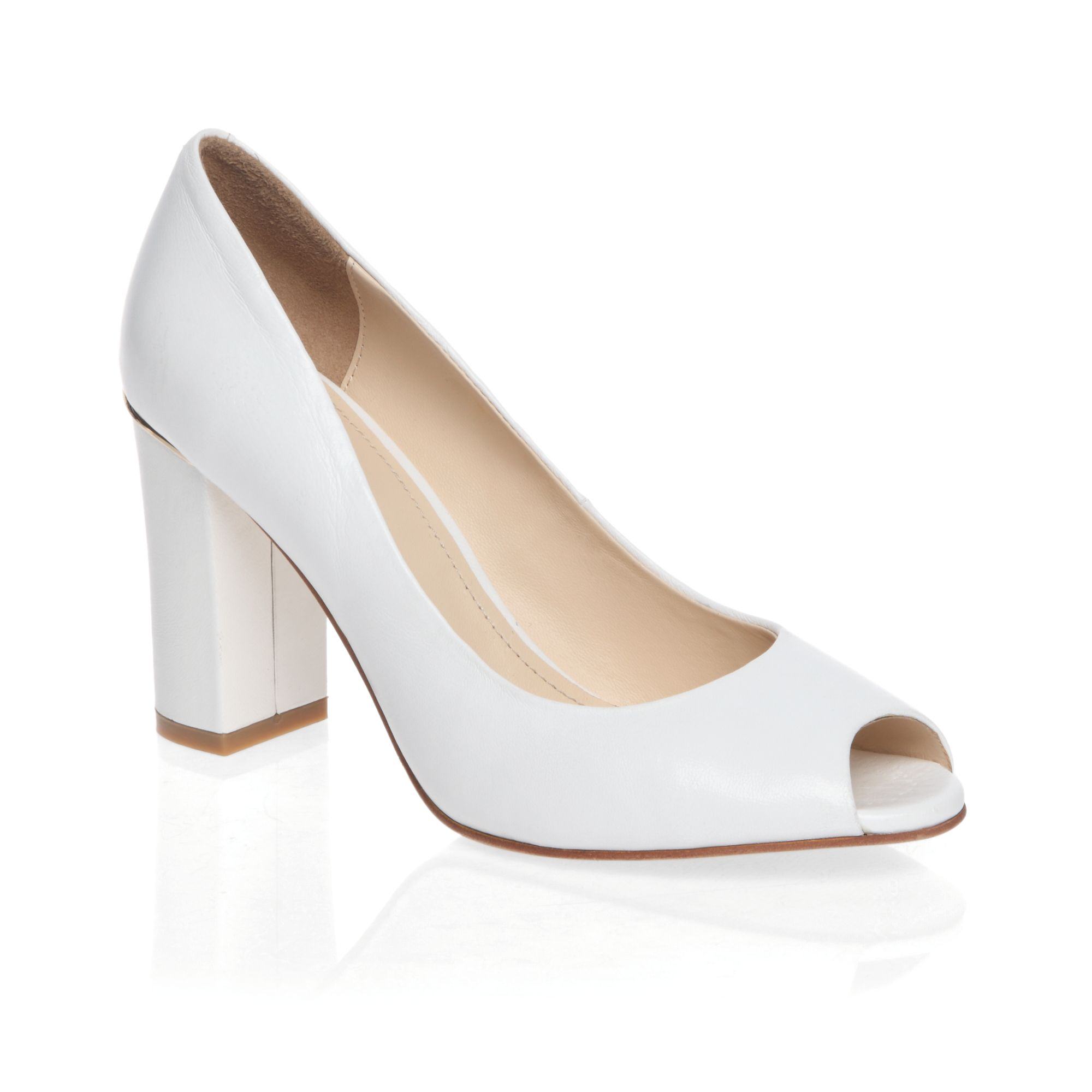 Classic mid heeled peep toe court shoes
