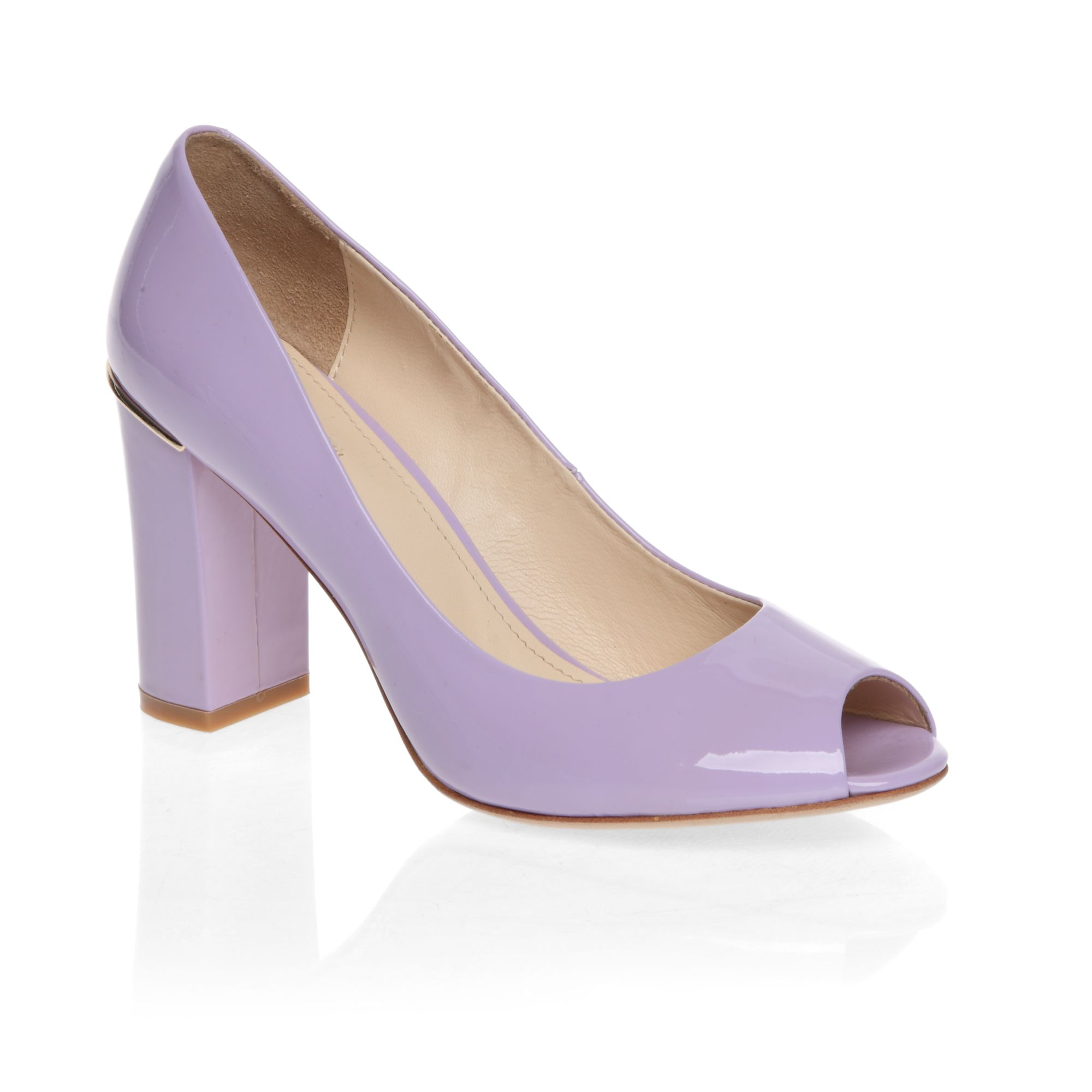 Classic mid heeled peep toe patent court shoes