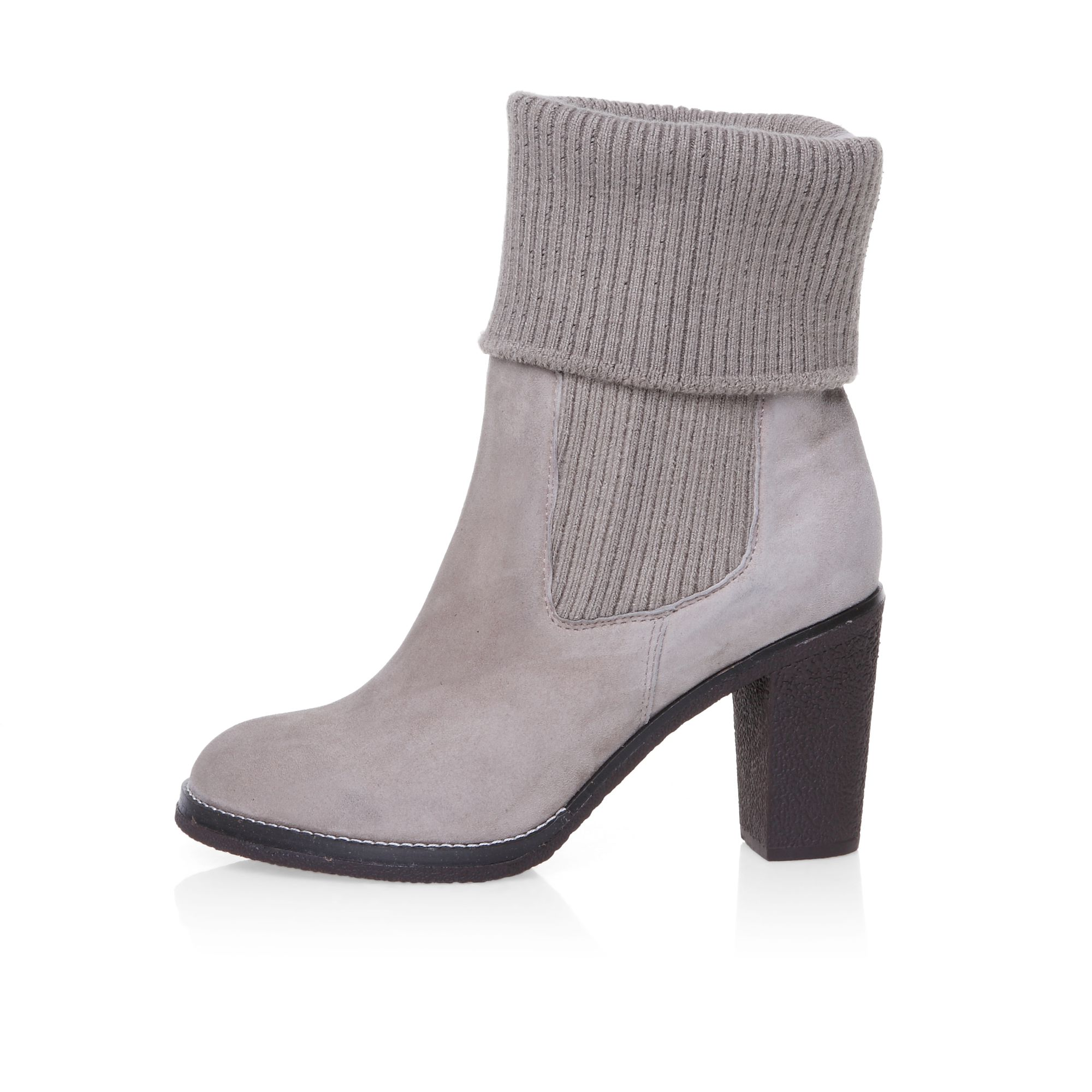 Knitted cuff detail ankle boots