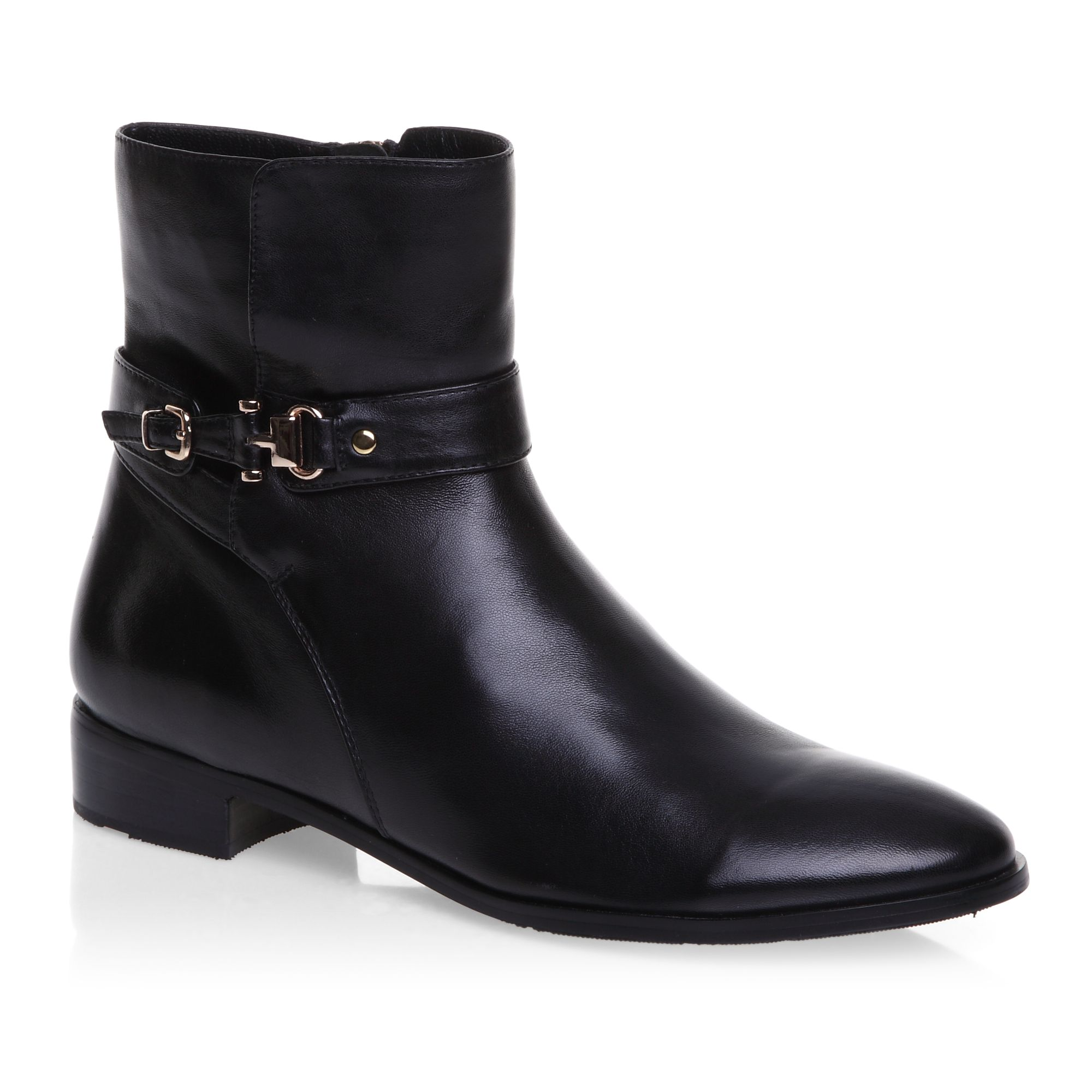 Gold buckle detailed ankle boots