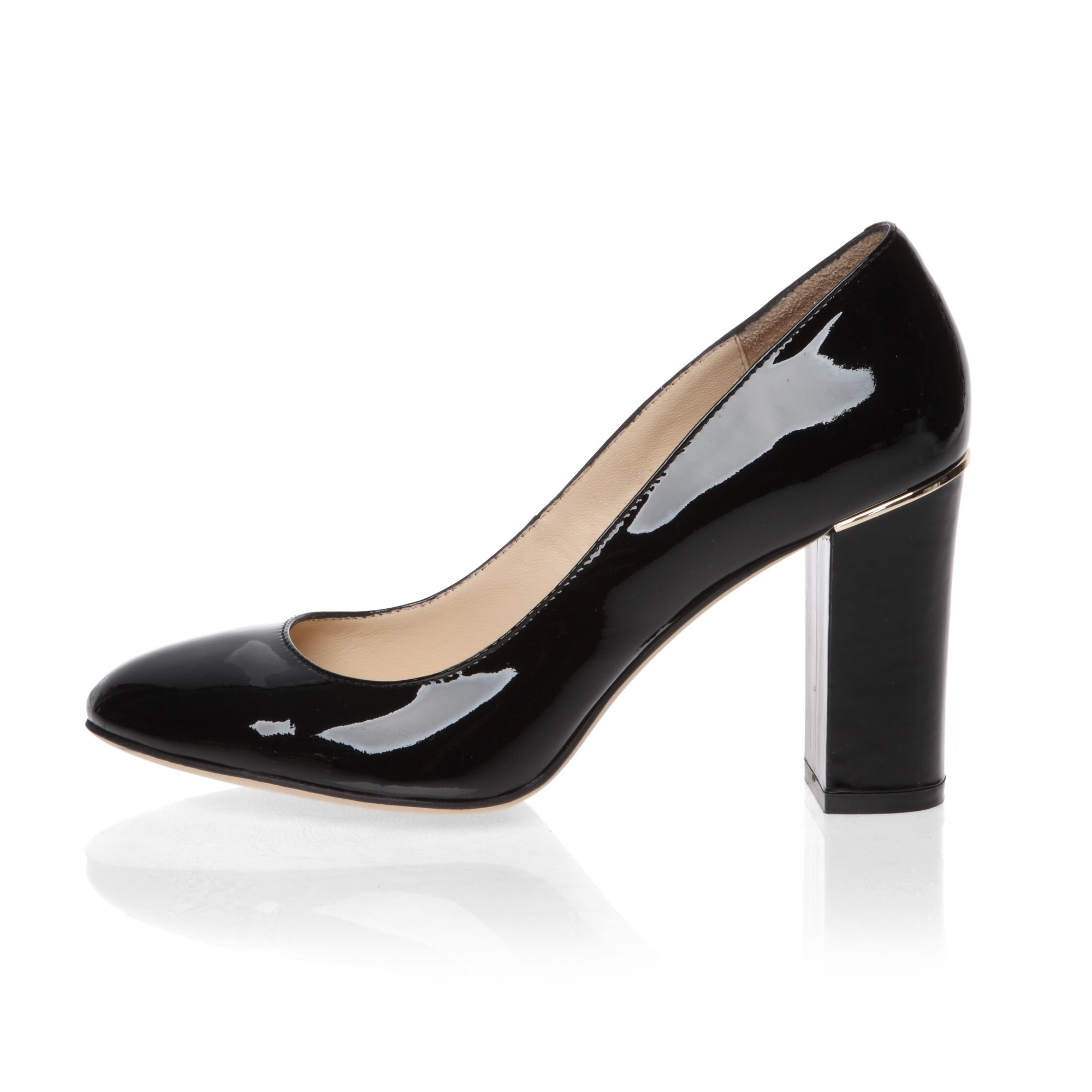 Classic mid heeled patent court shoes