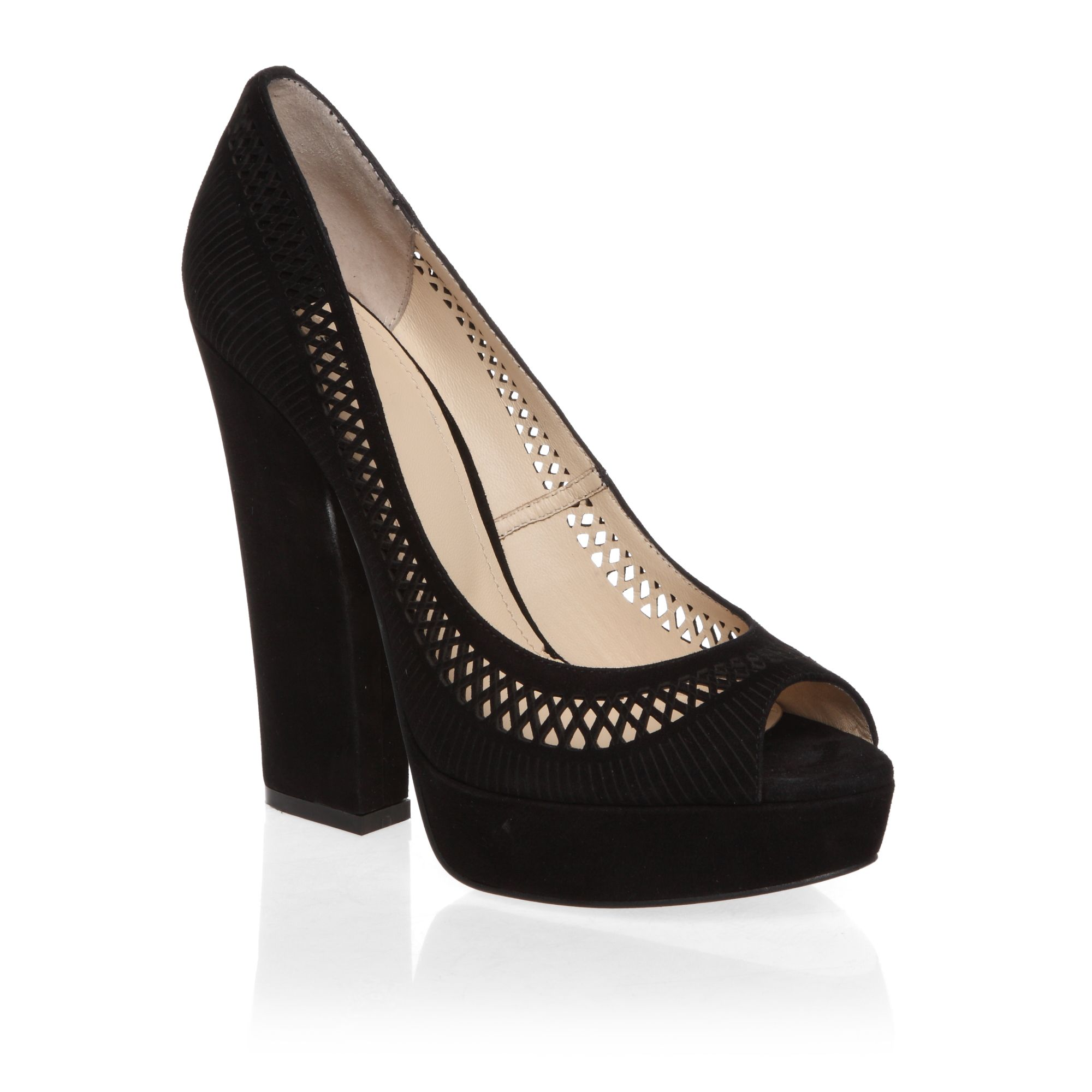 Peep toe block heeled court shoes