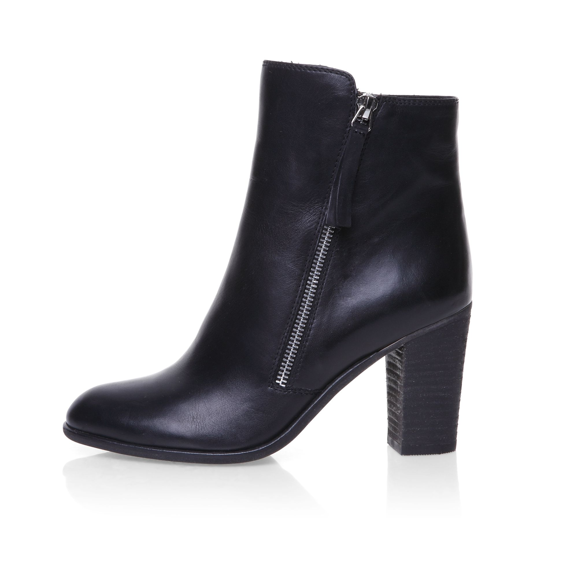 Stacked heel zip detail ankle boots