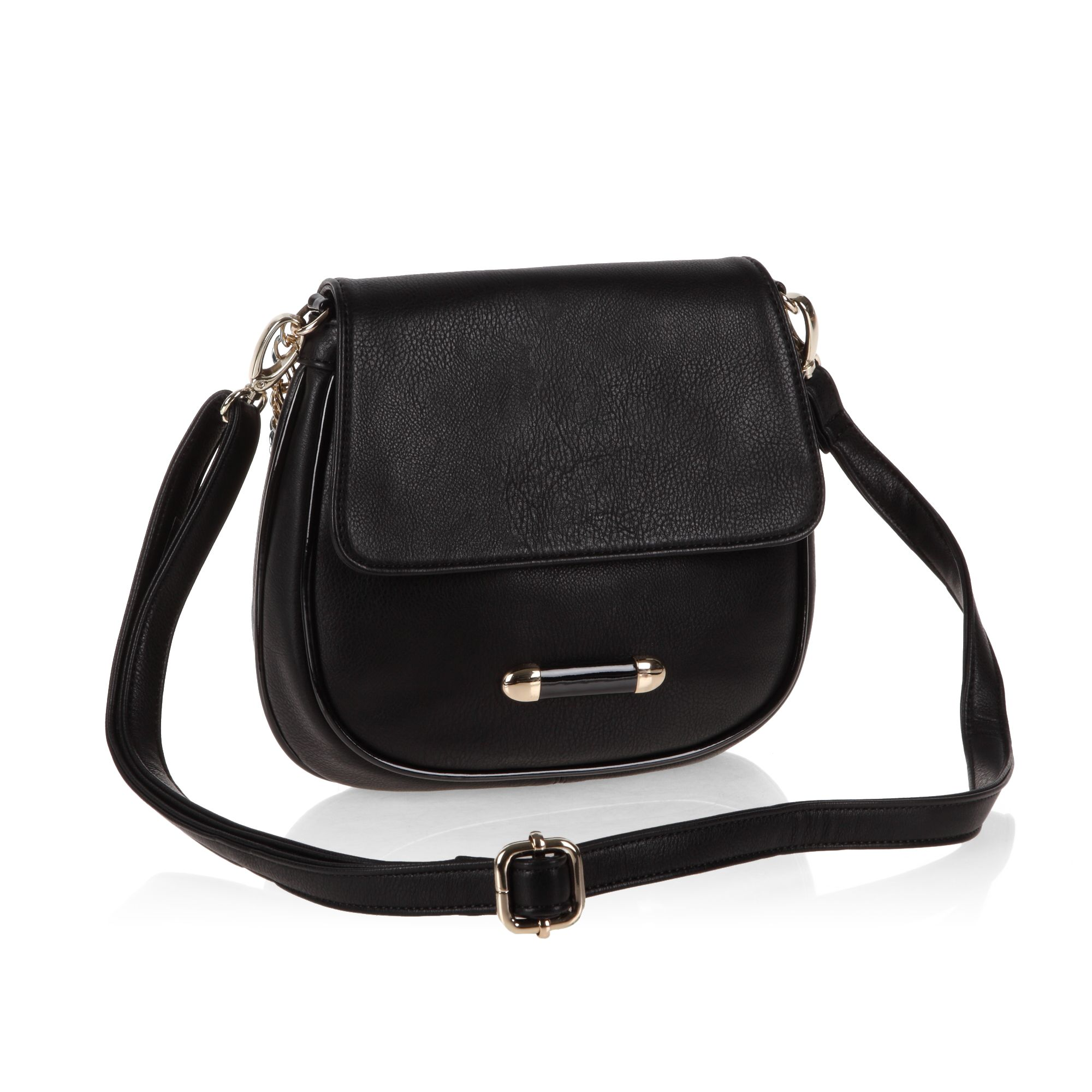 Top zip and flapover small satchel bag