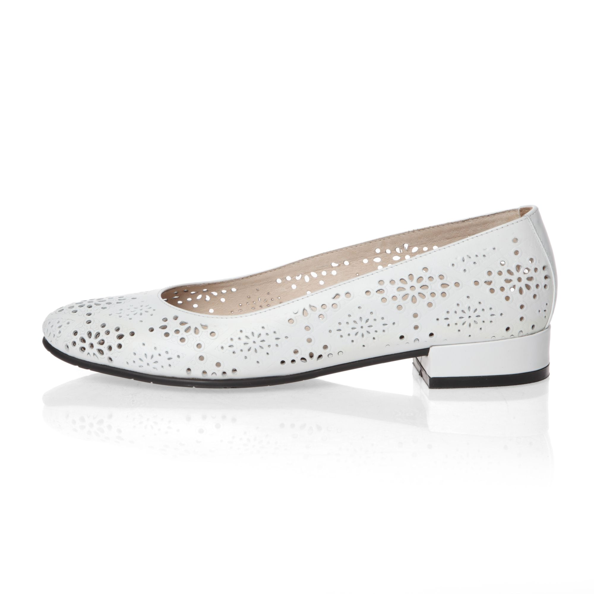 Laser cut detailed low heeled court shoes