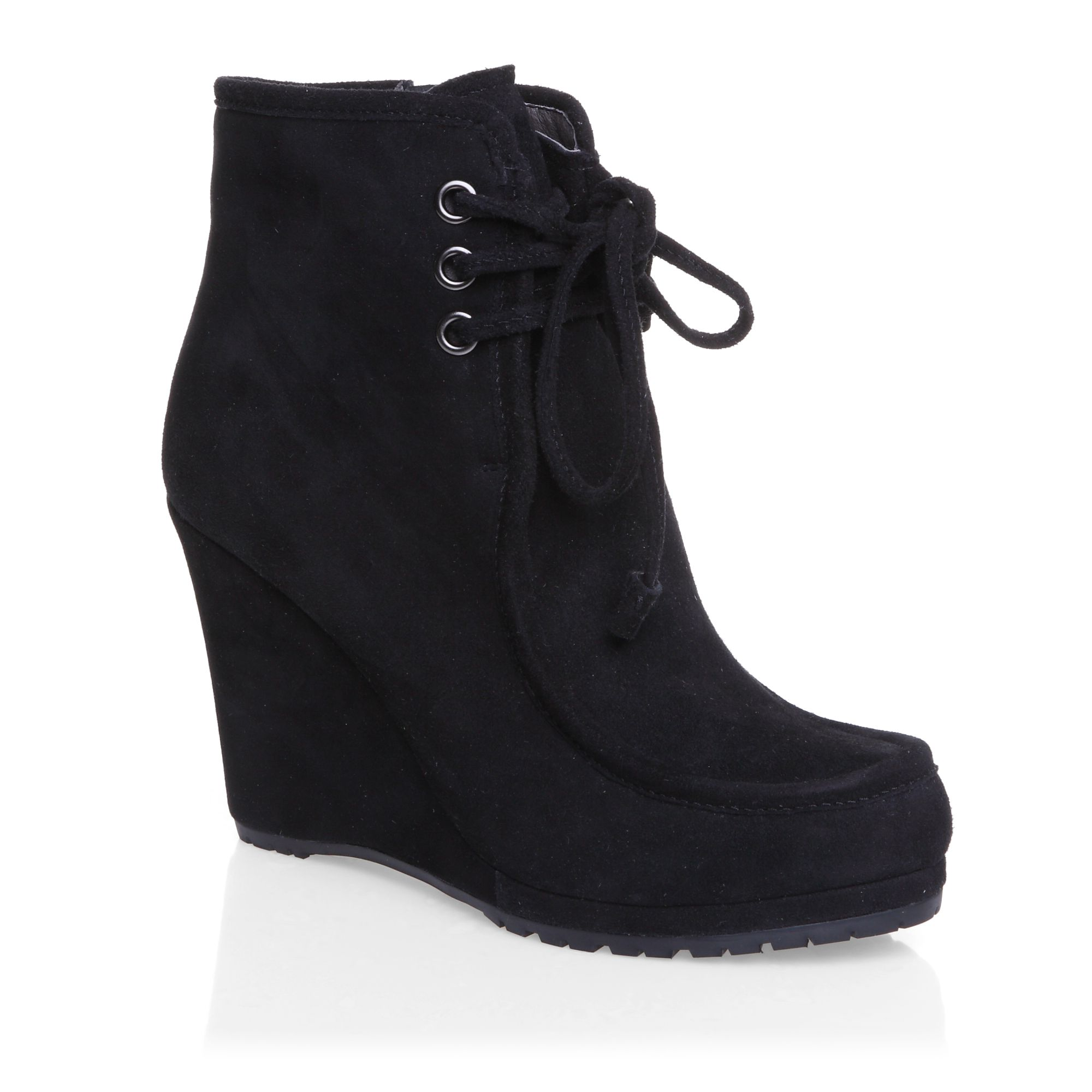Laceup wedge boots