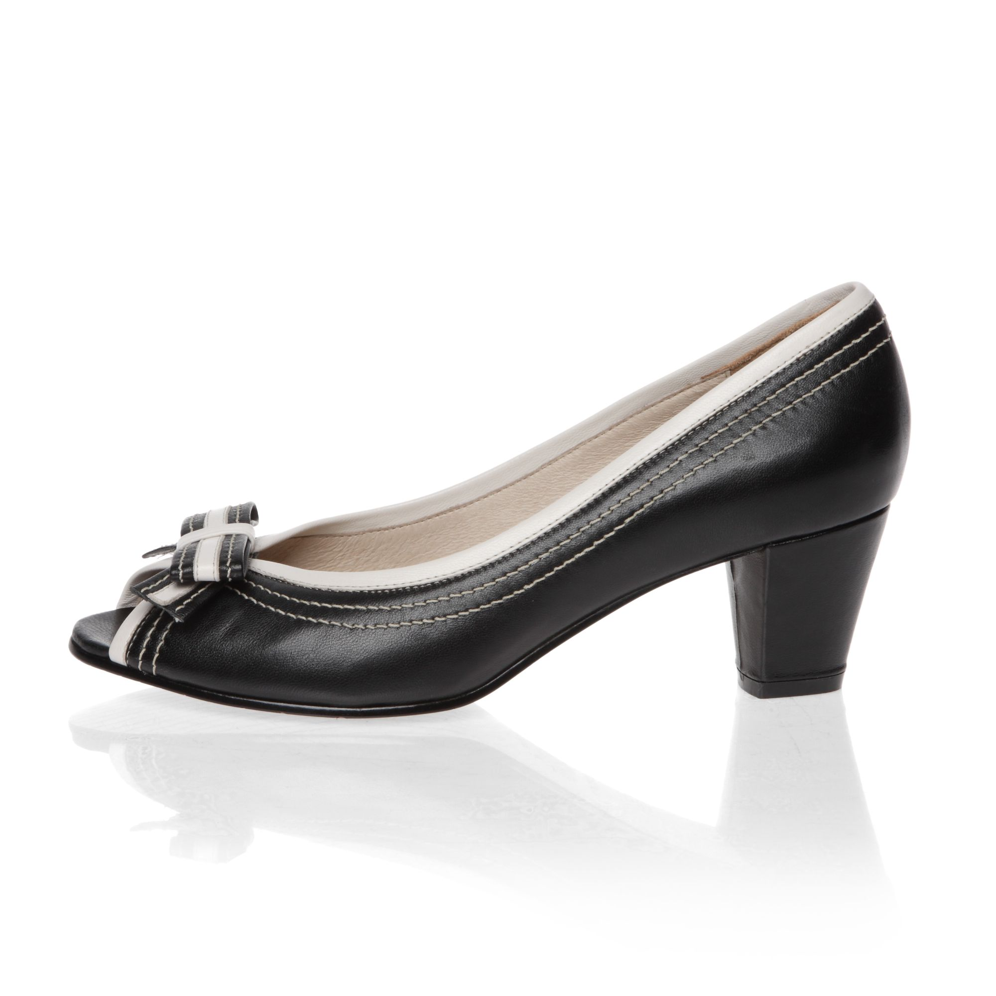 Mid heeled peep toe court shoes