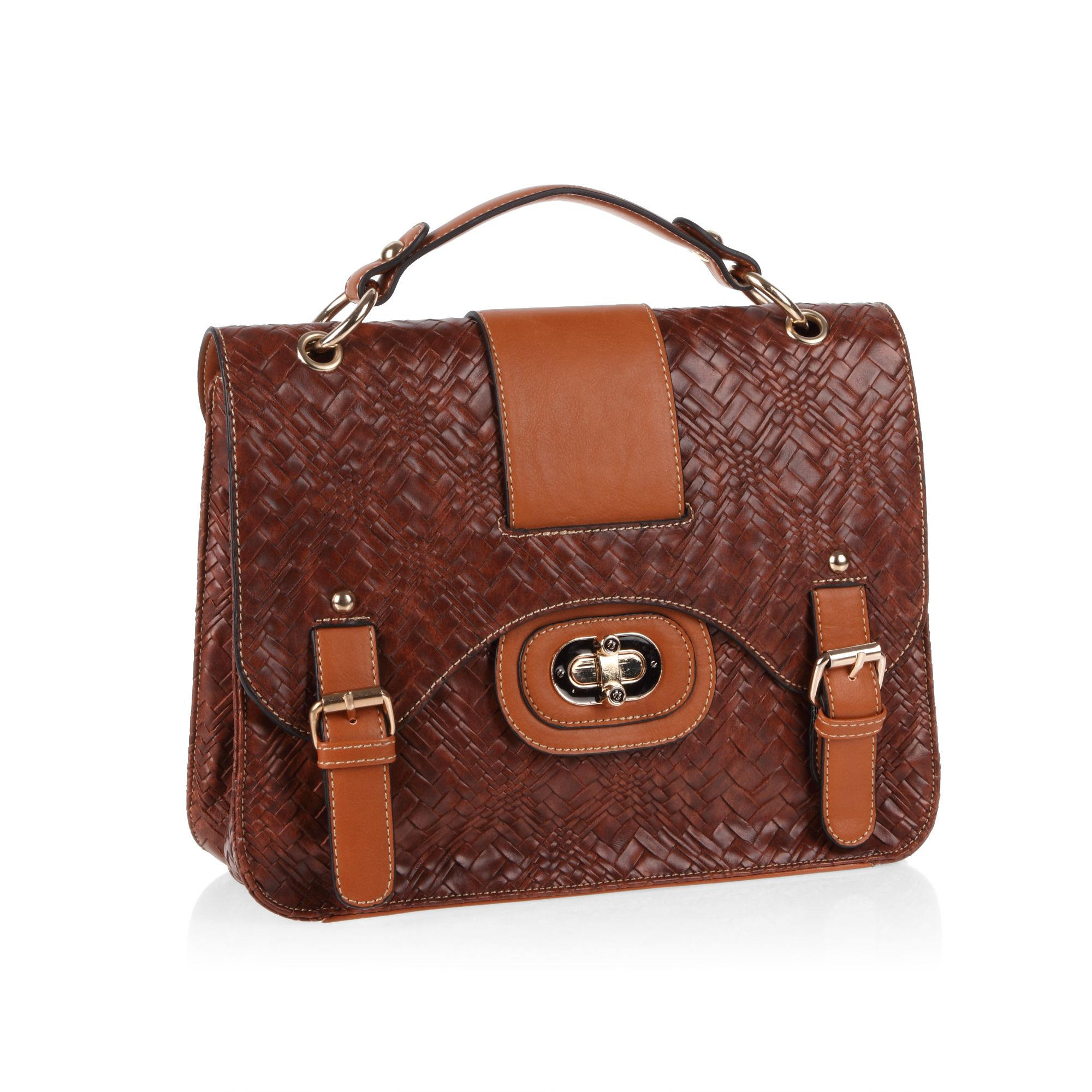 Flapover woven effect print satchel bag