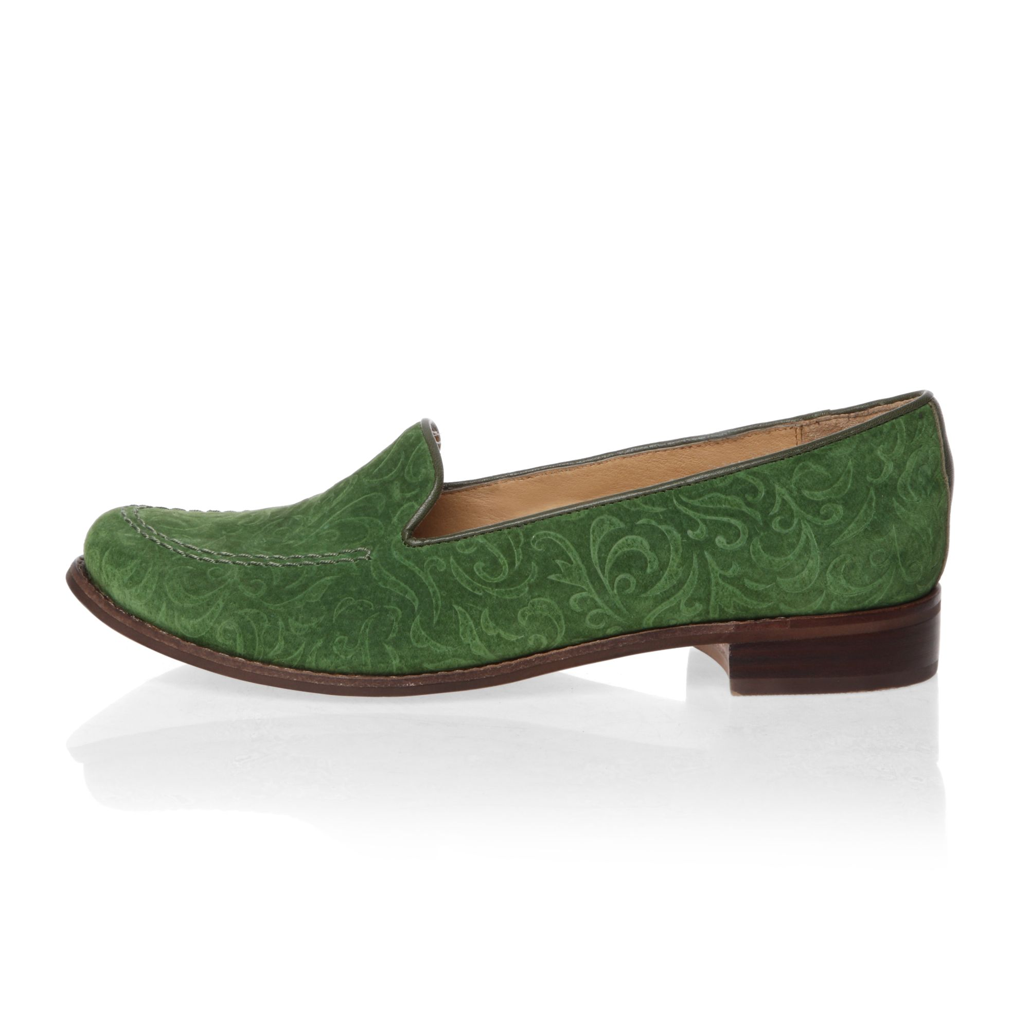 Embossed print suede loafer shoes