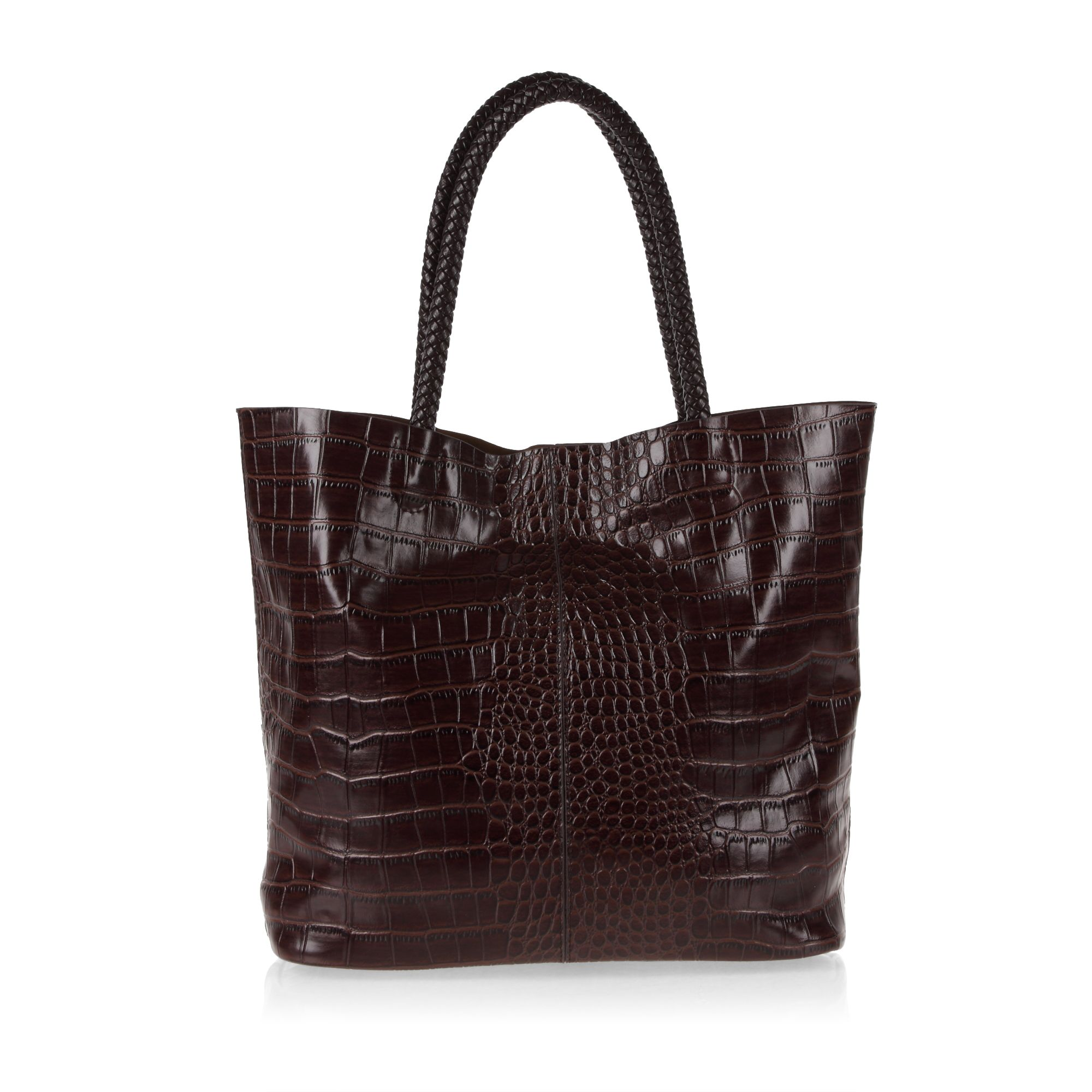 Croc print tote bag with detachable pouch