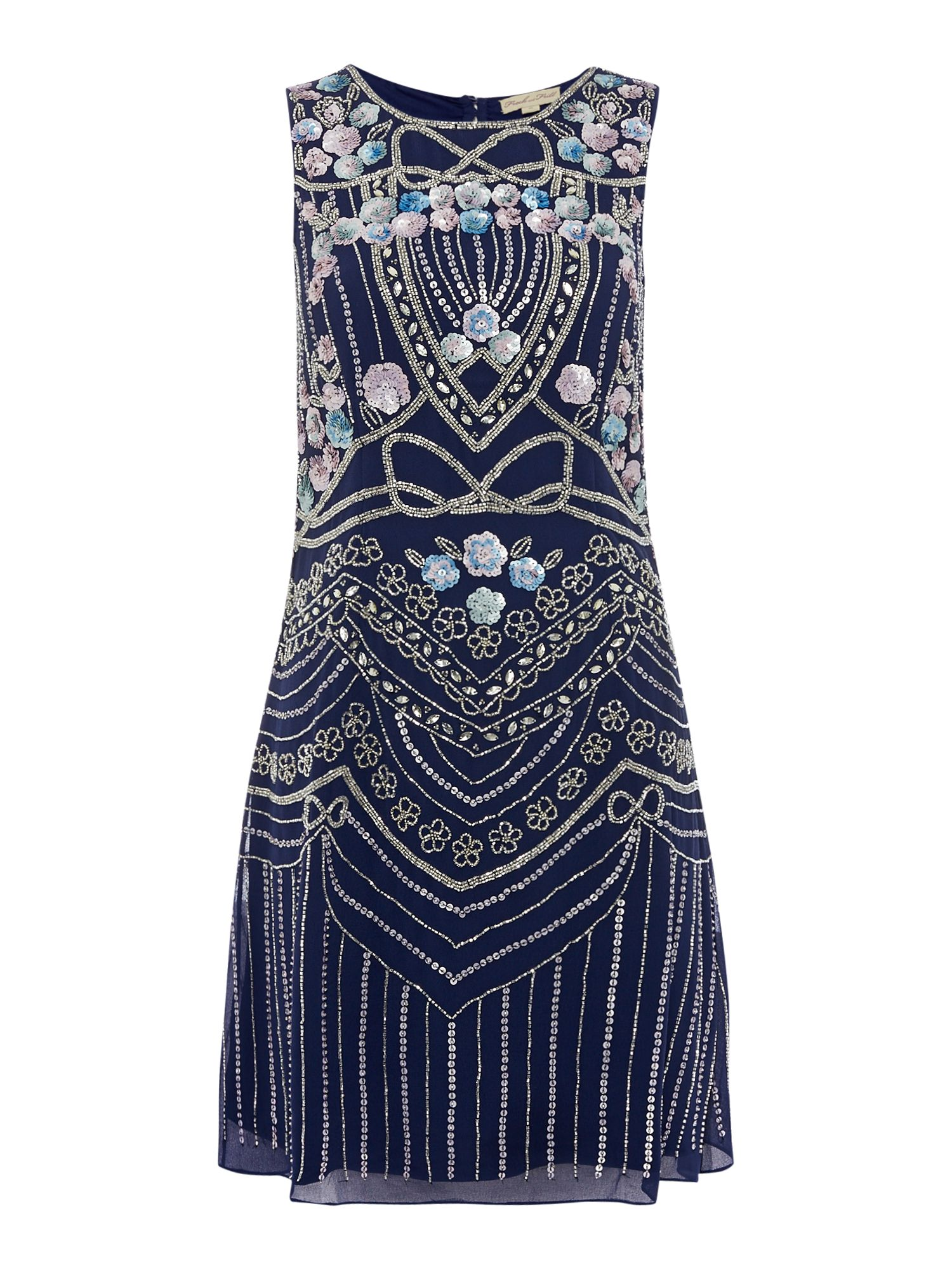 Frock and Frill round neck embellished mini dress, Cobalt