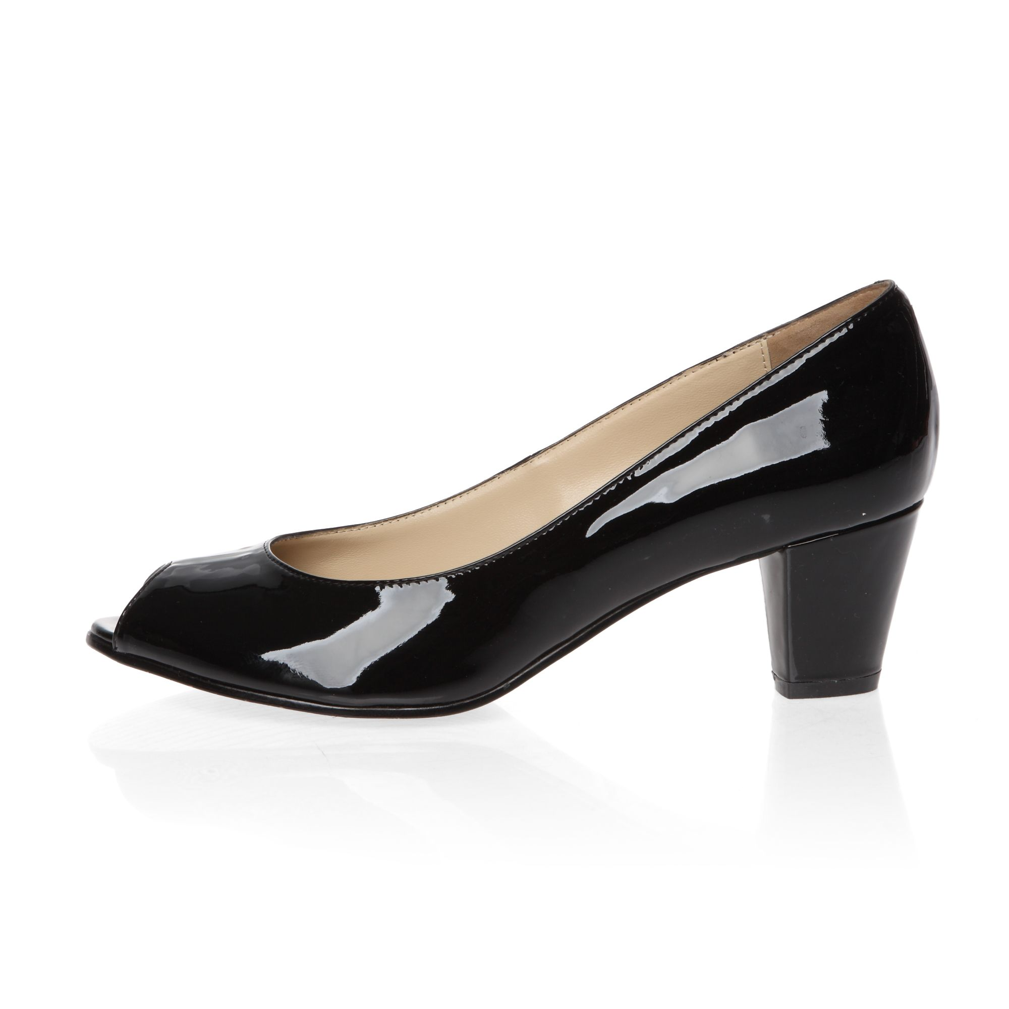Mid heeled peep toe patent court shoes