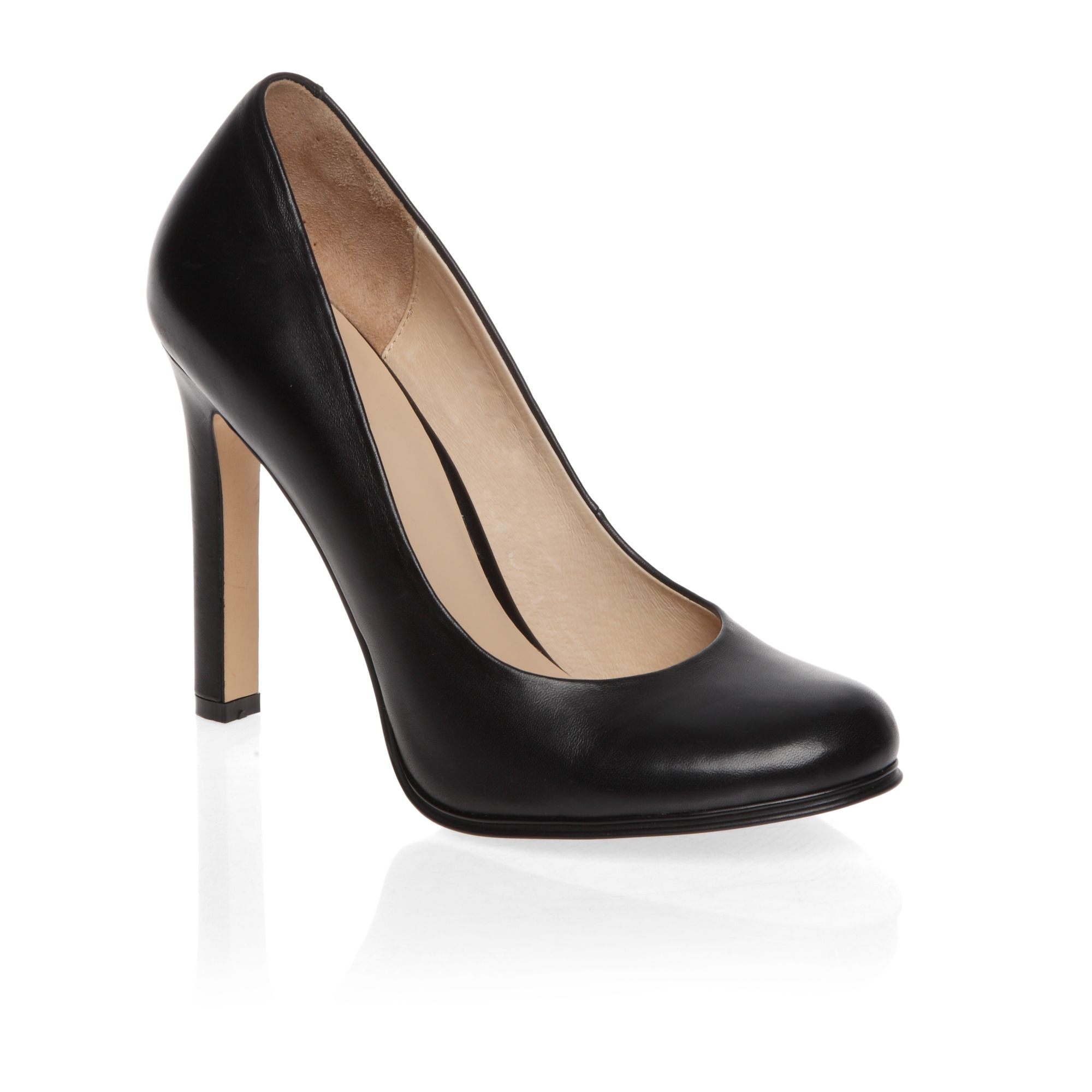 Round toe block heeled court shoes