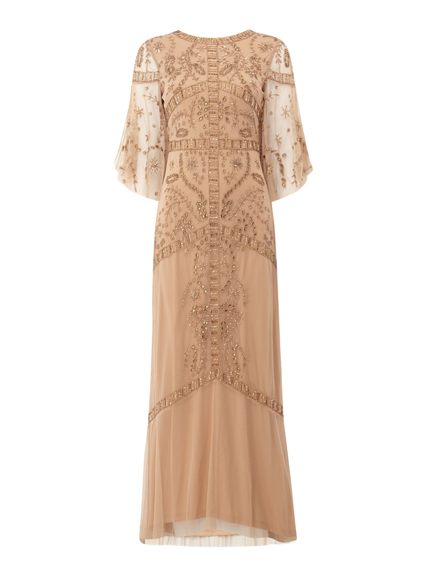 Frock and Frill Embellished maxi dress, Pink