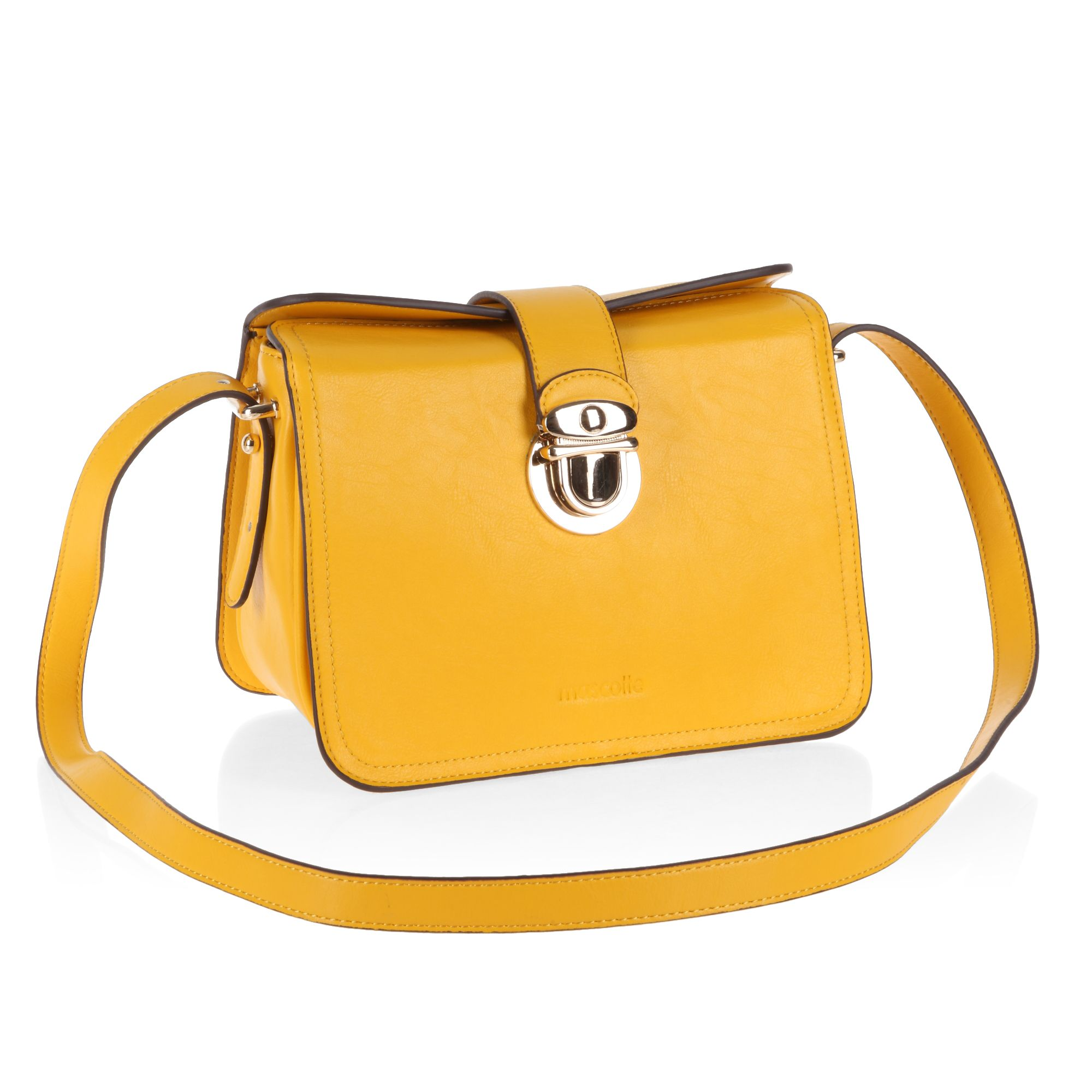 Gold clasp long strap elegant satchel bag