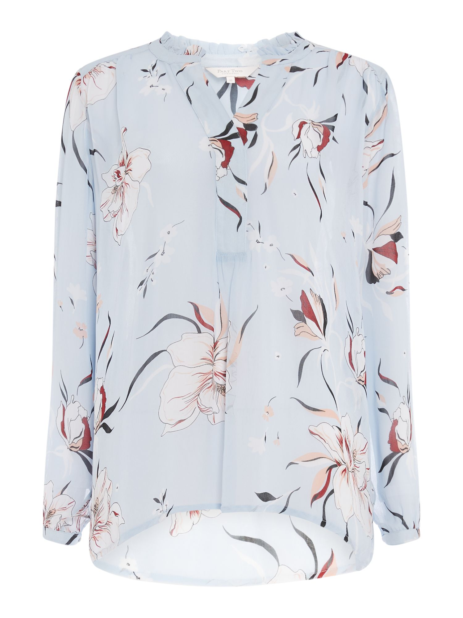 Part Two Hella floral long sleeve top, Light Blue