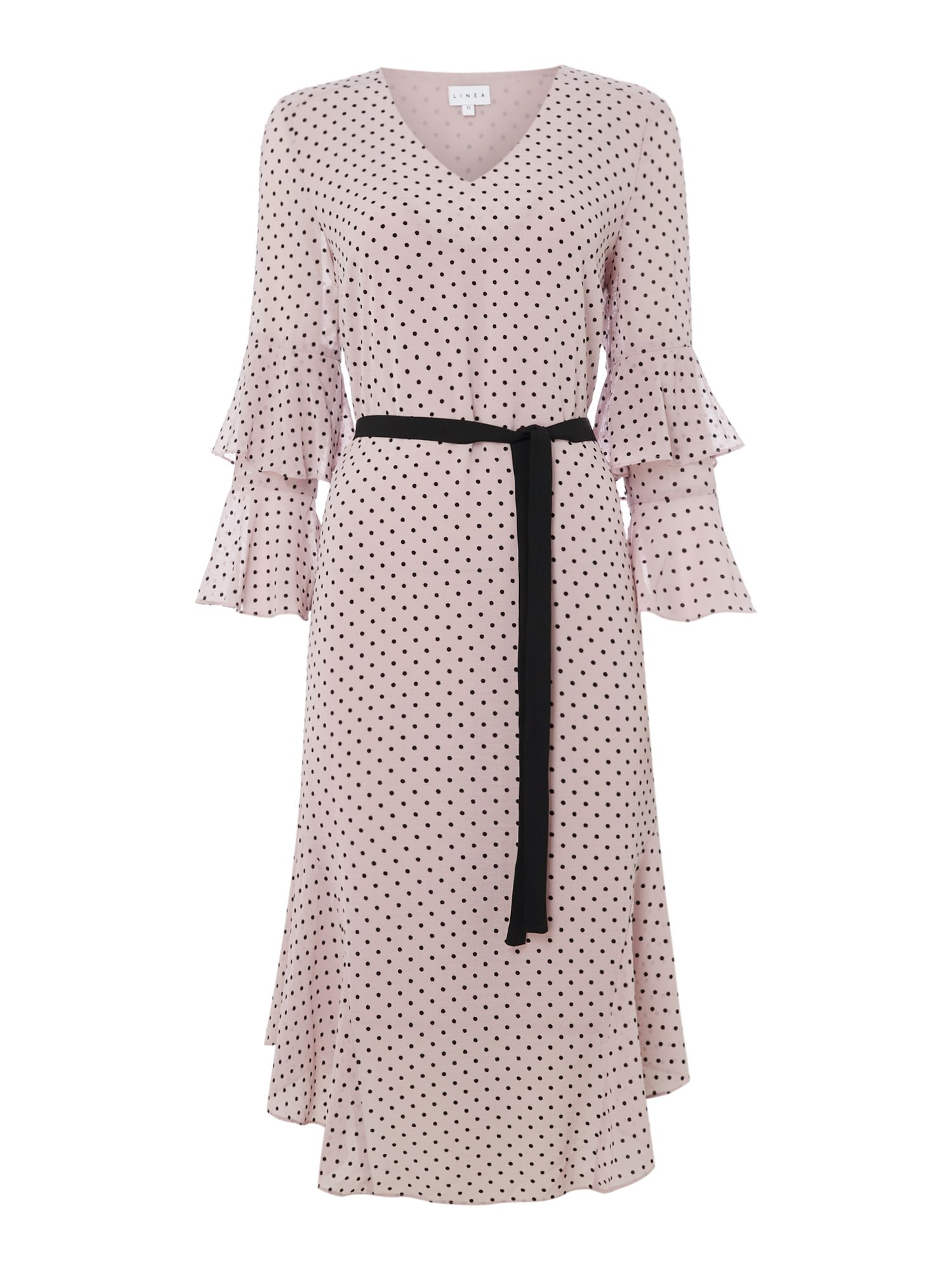 Linea Aimee frill panel spot dress, Pink