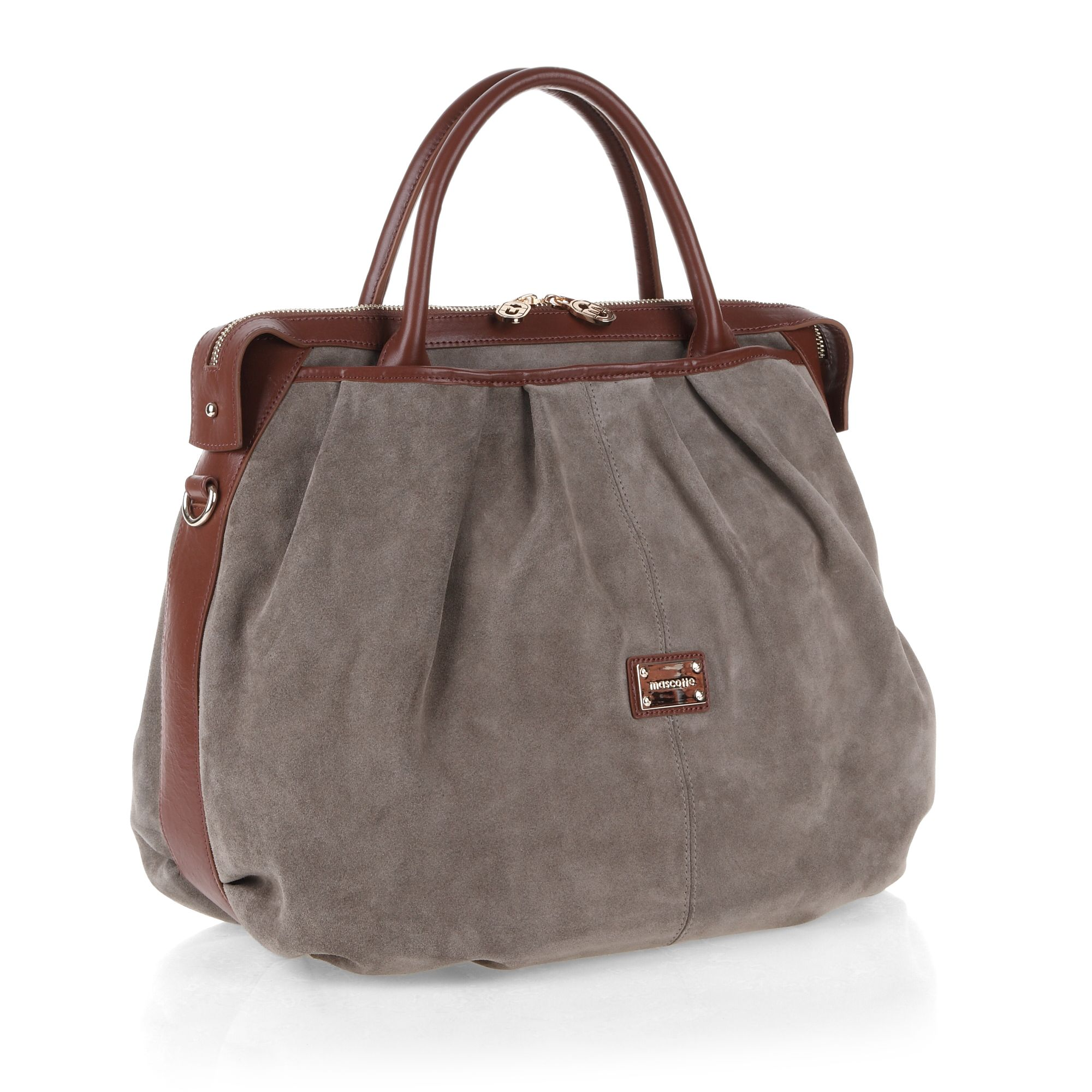 Top zip detailed suede hobo bag
