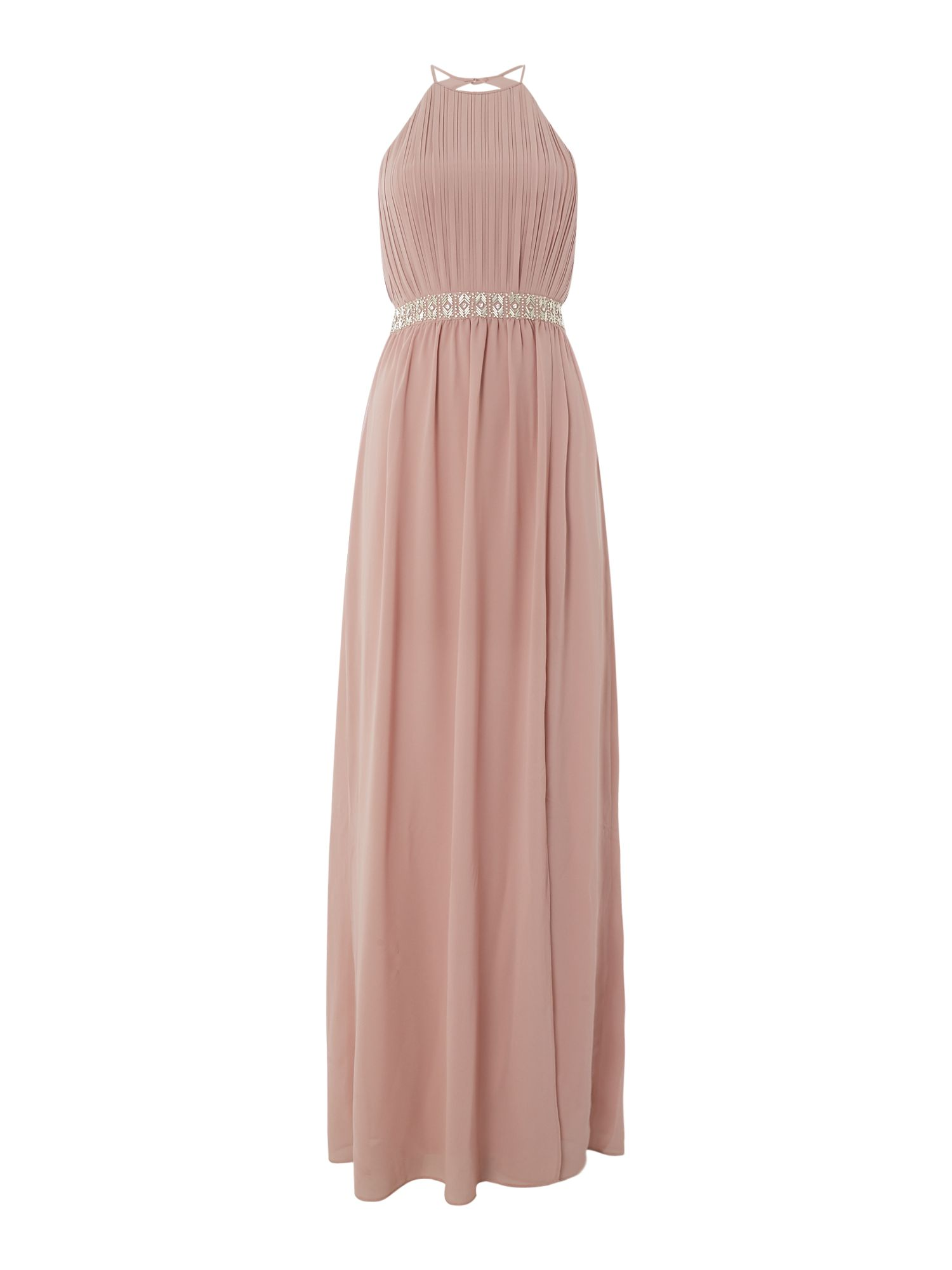tfnc High neck jewel waist maxi dress, Pink