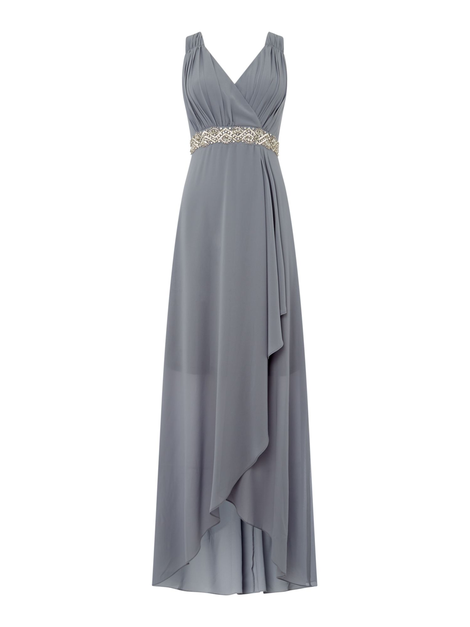 tfnc V neck jewel waist maxi dress, Grey