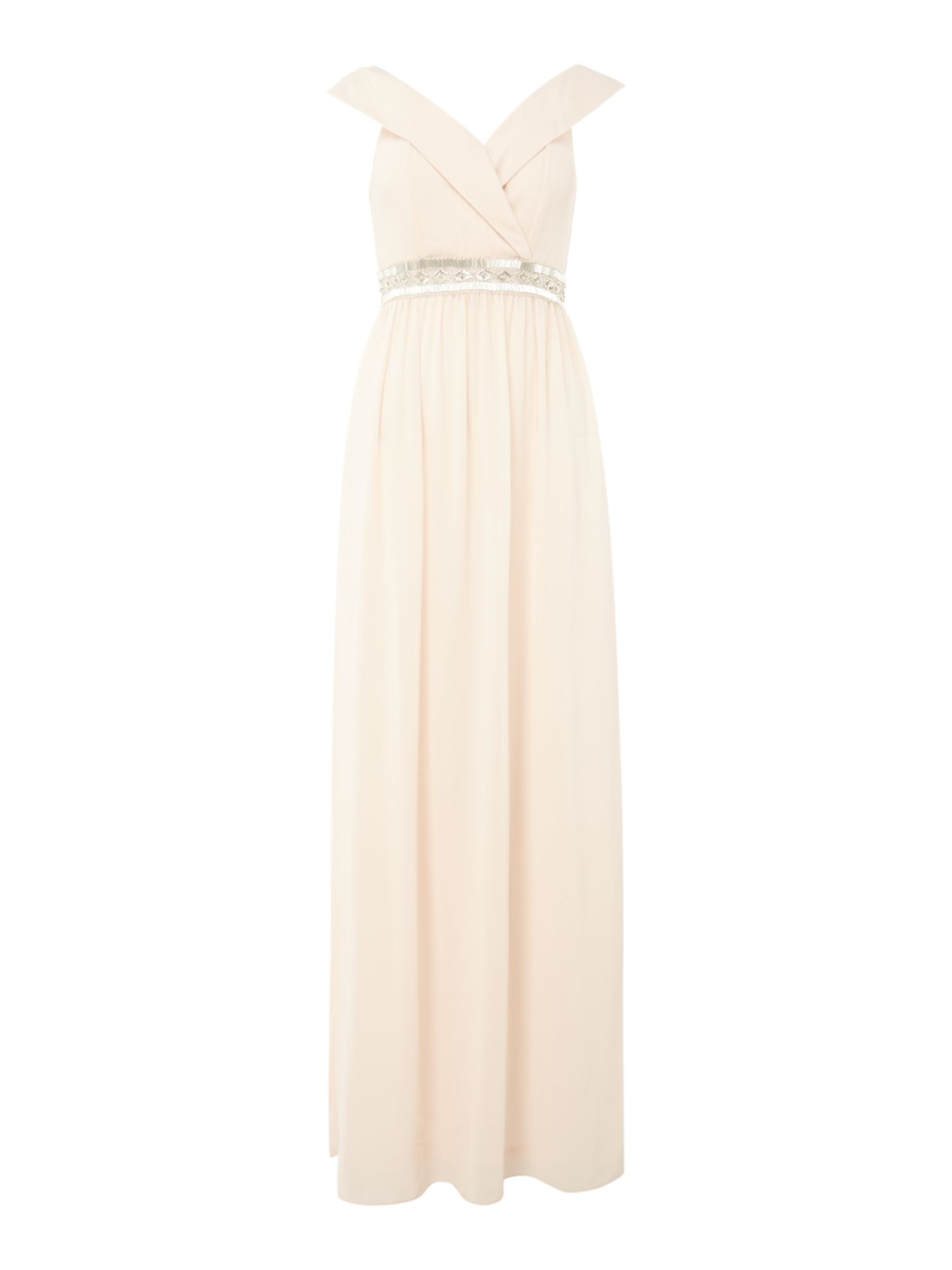 tfnc bardot jewel waist maxi dress, Nude