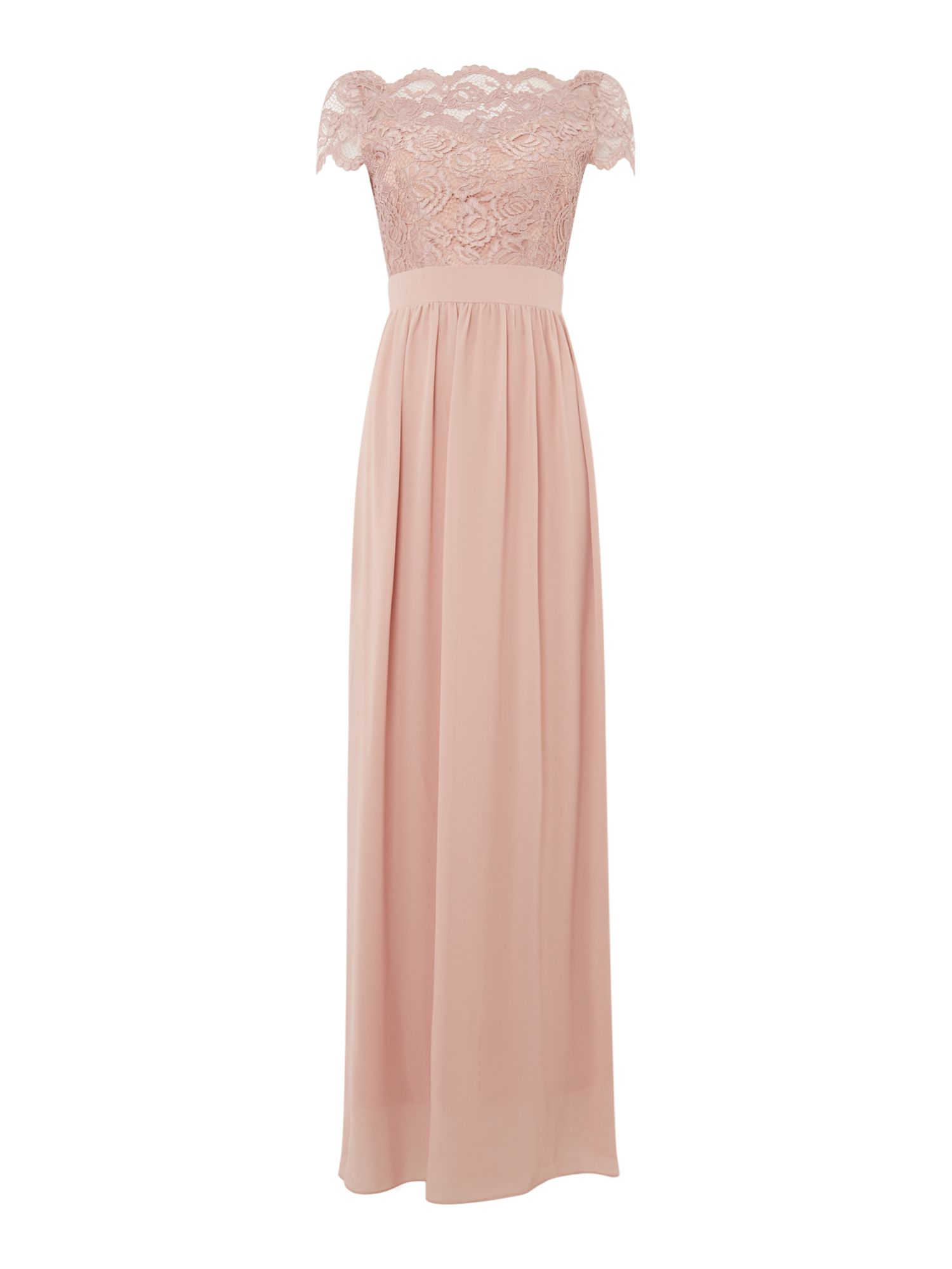 tfnc short sleeve maxi dress with lace top open back, Mauve