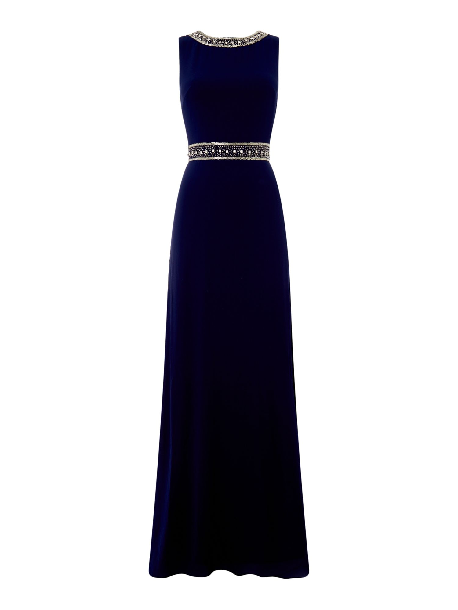 tfnc Round neck embellished maxi dress, Blue