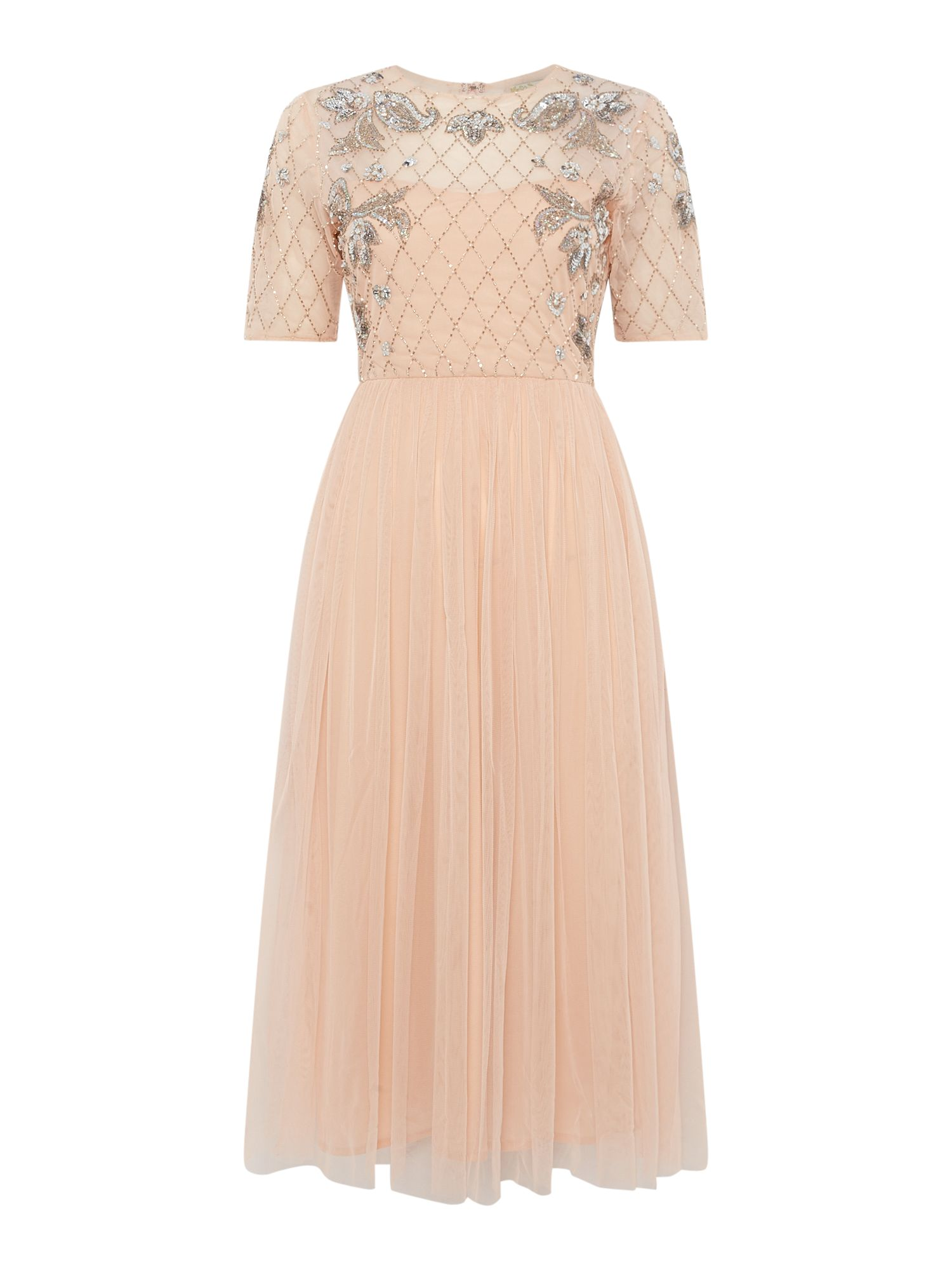 Lace and Beads Sequin top short sleeve fit and flare dress, Nude