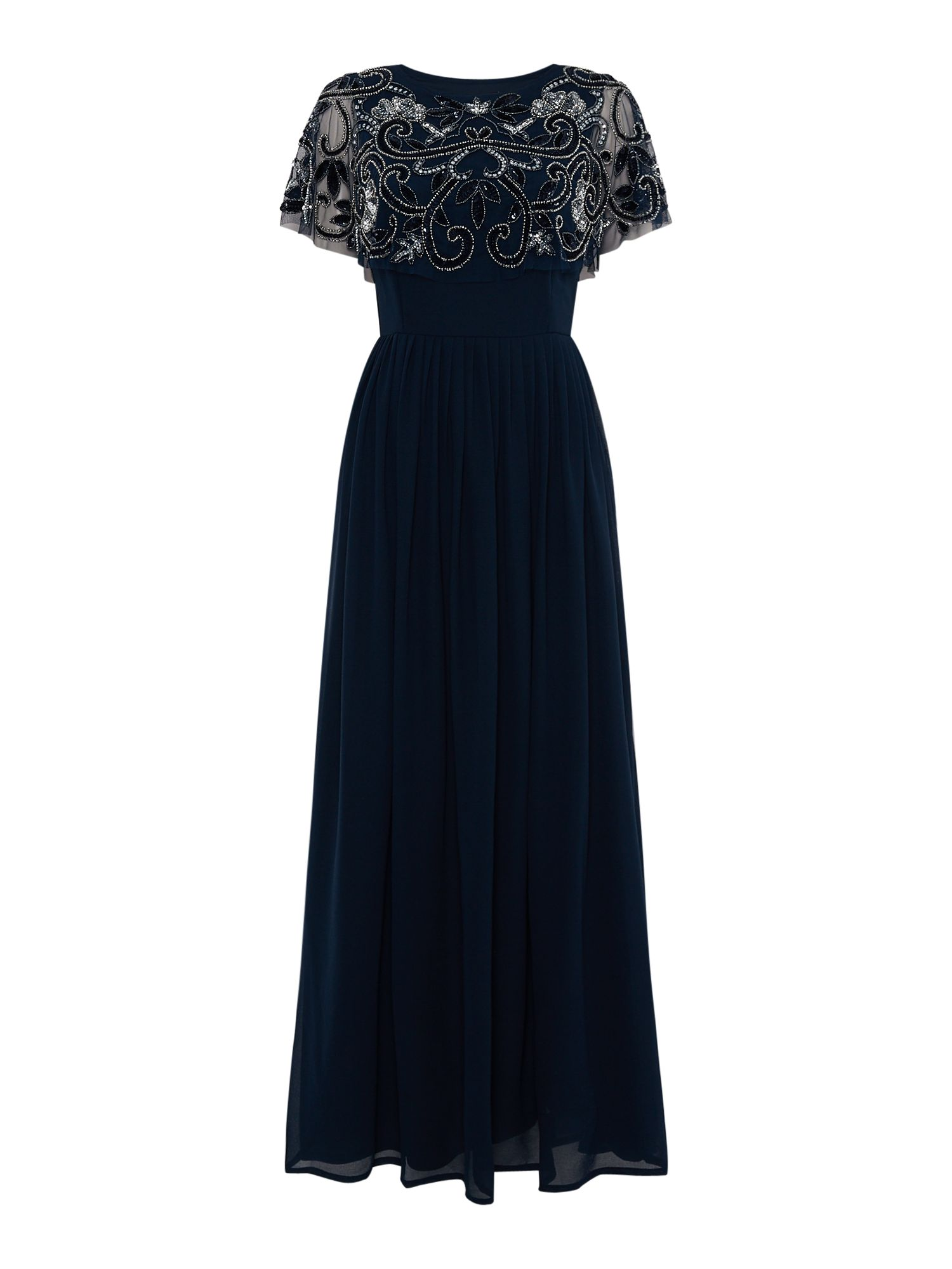 Lace and Beads Embellished top maxi dress, Blue