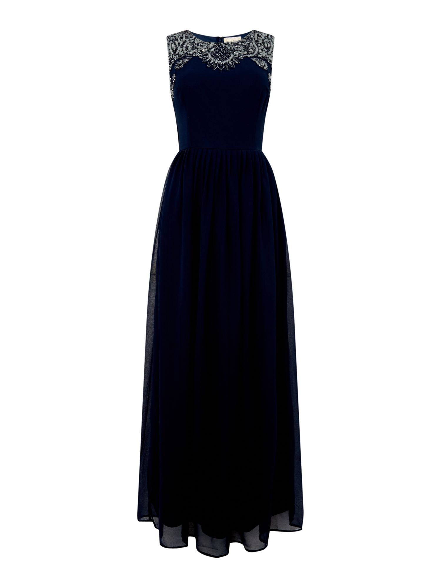 Lace and Beads high round jewel neck maxi dress, Blue