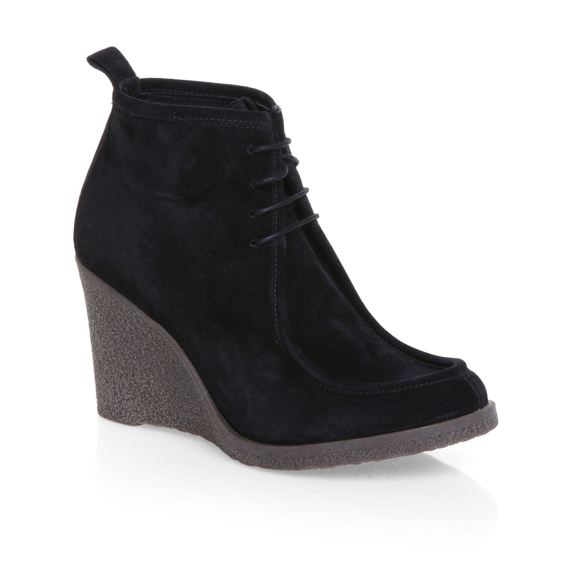 Crepe wedge lace up shoe boots