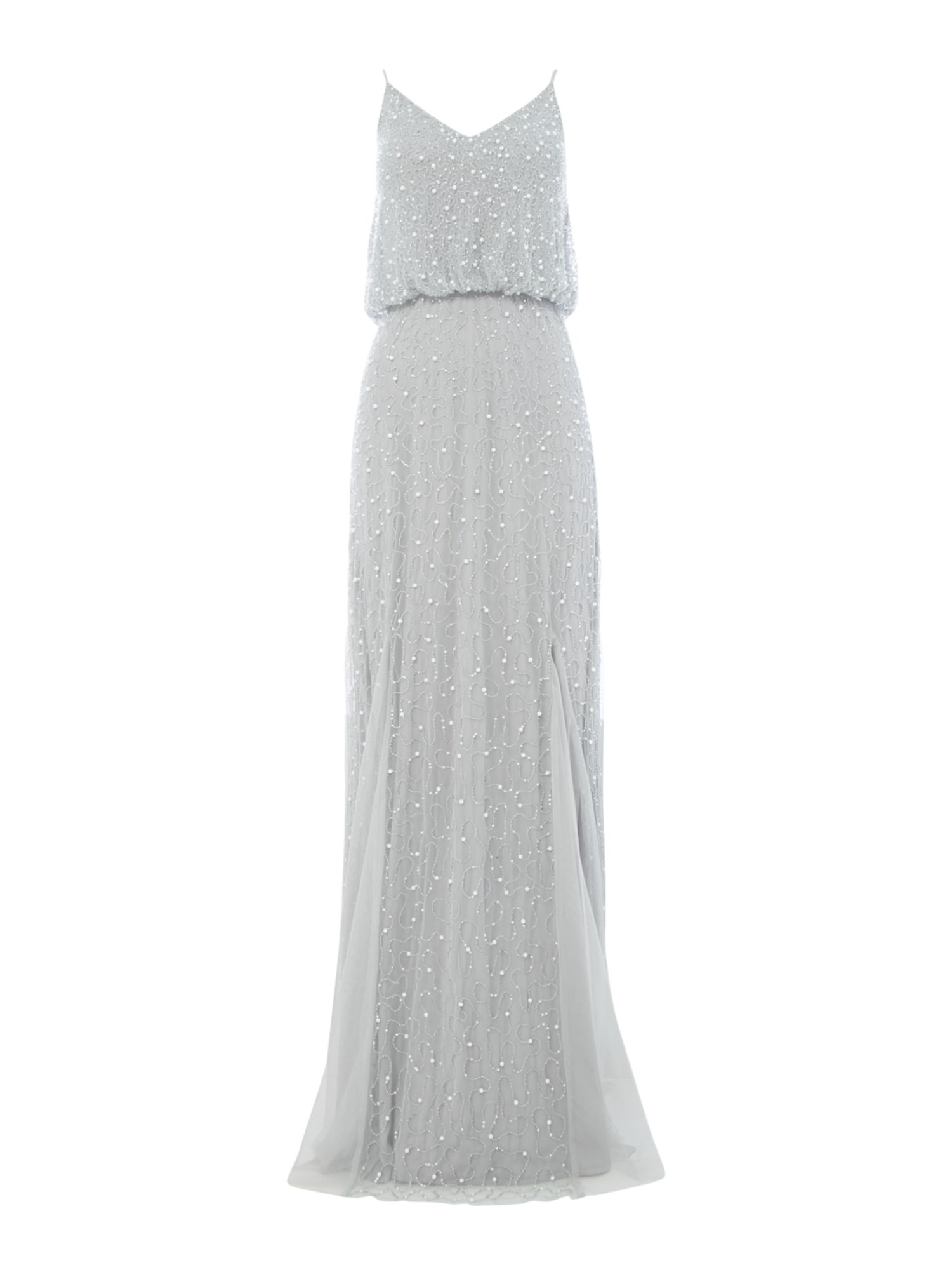 Lace and Beads Strappy beaded gown with overlay, Grey