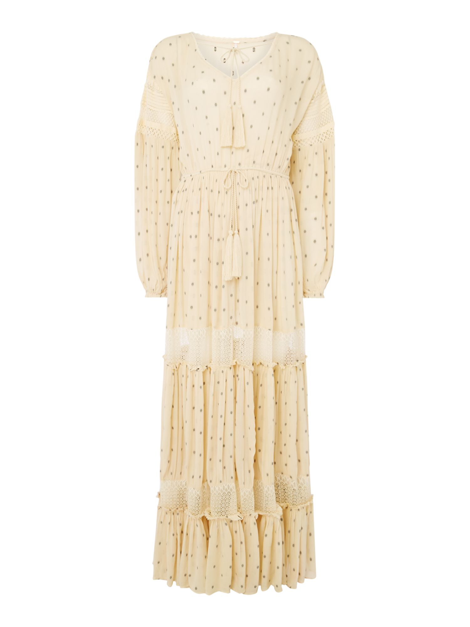 Free People Long Sleeve Crochet Panel Sada Maxi Dress, White