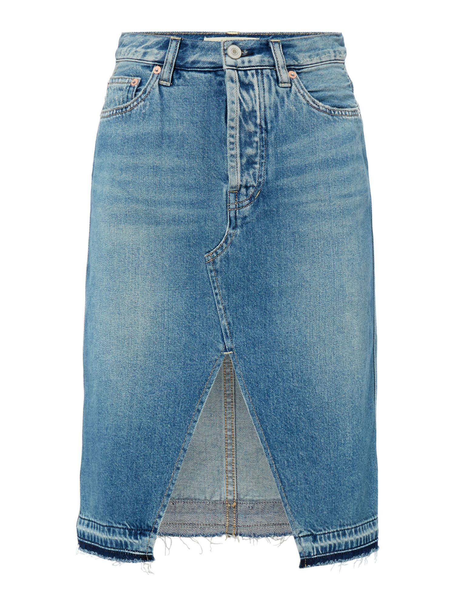 Free People Knee Length Denim Midi Skirt, Blue